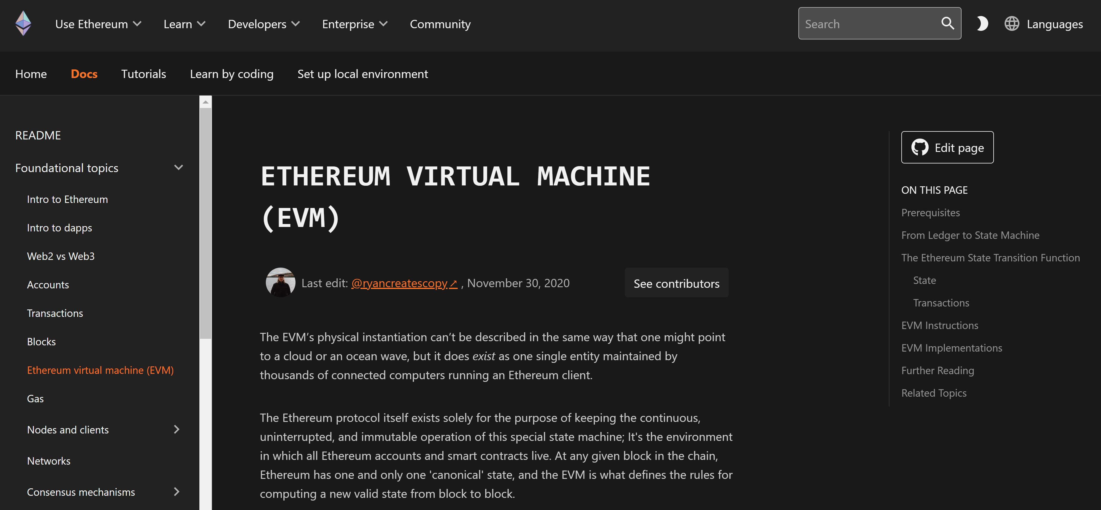 Déclaration du site Web de la machine virtuelle Ethereum
