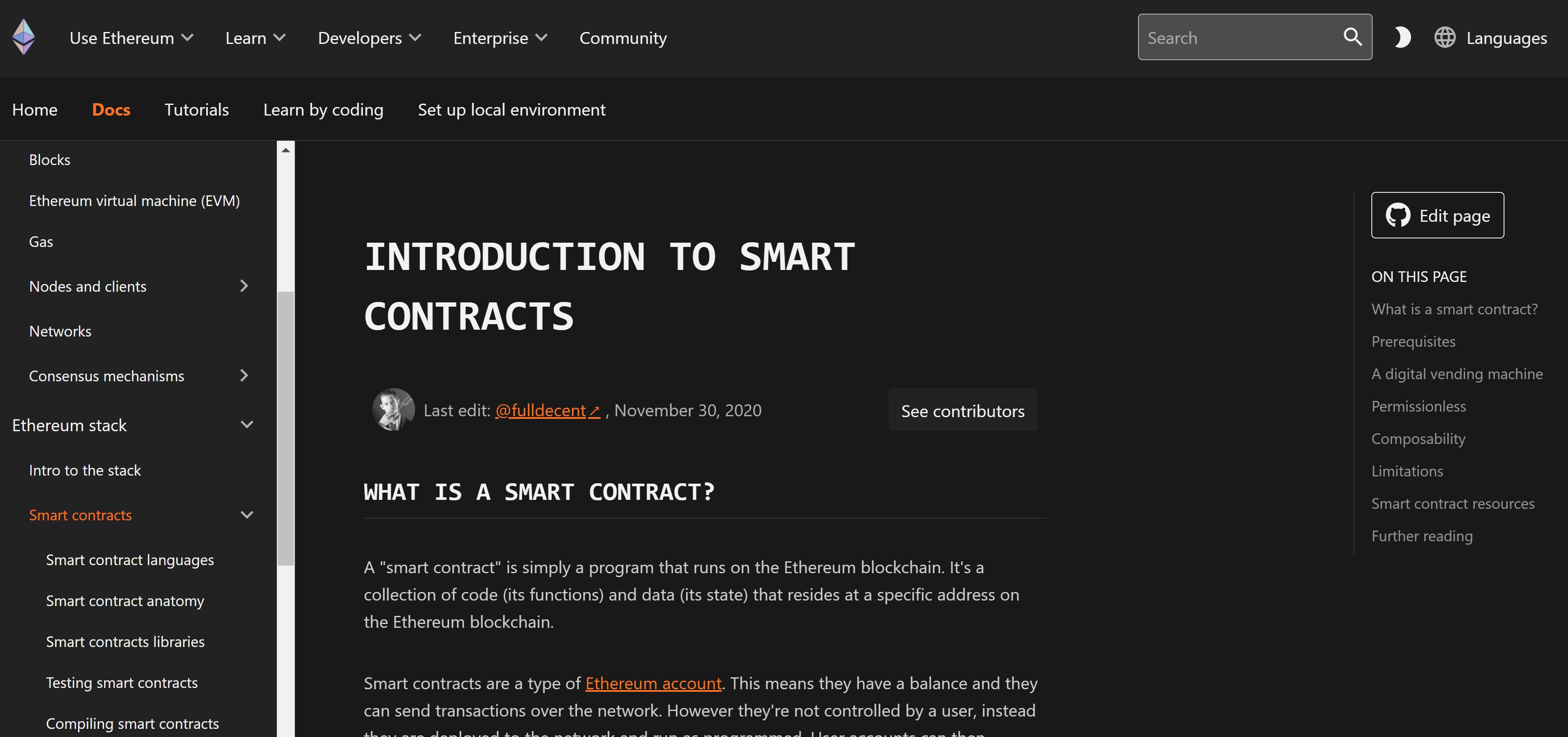Declaración del sitio web de Ethereum Smart Contracts