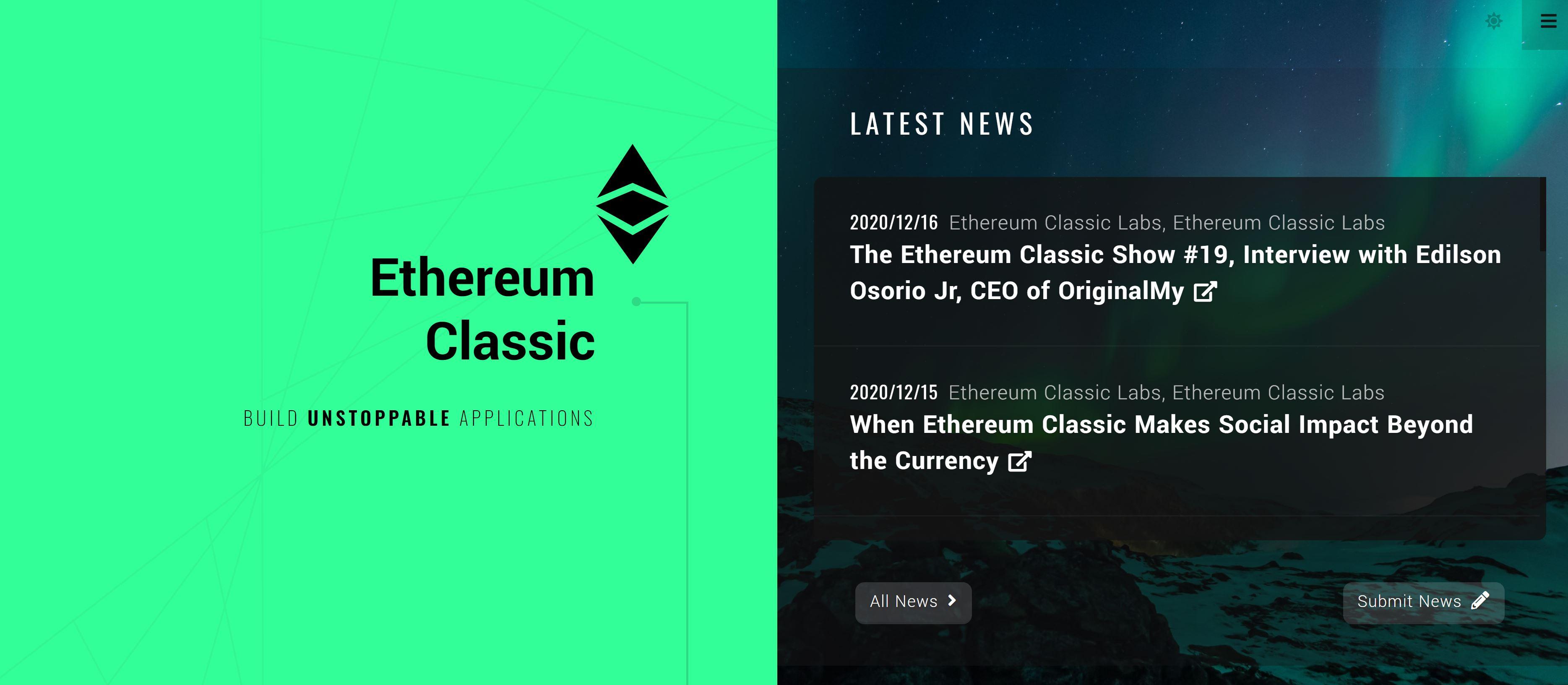 Ethereum Classic-webbplats