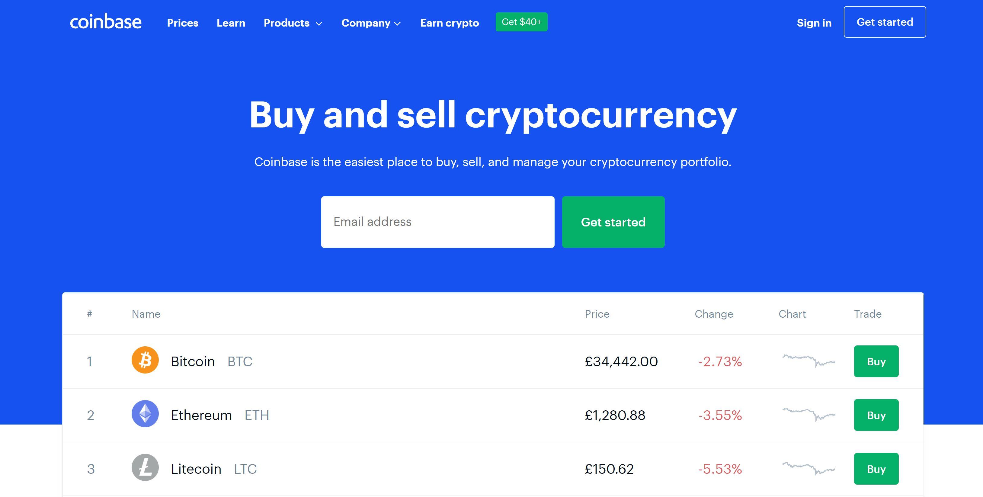 Coinbase nettsted og logo