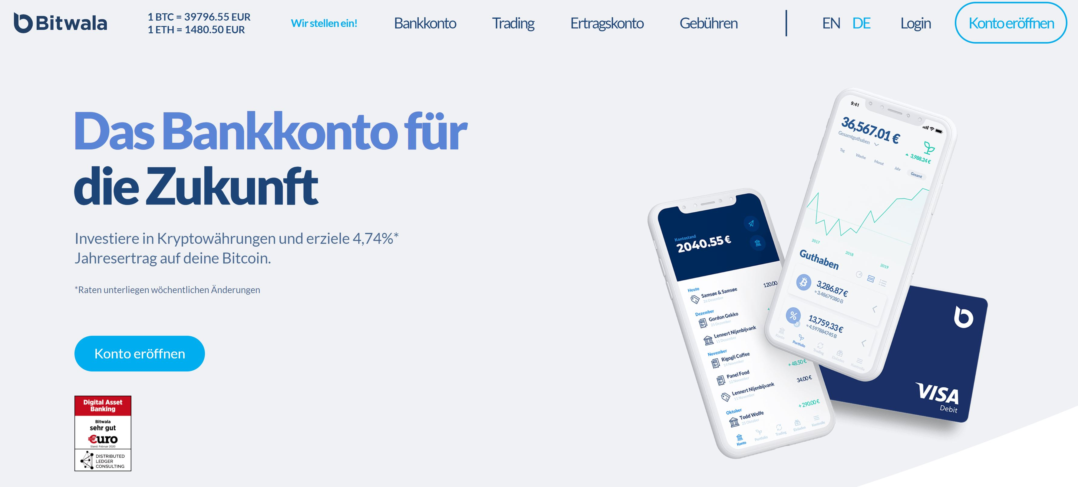 Bitwala webbplats och logotyp