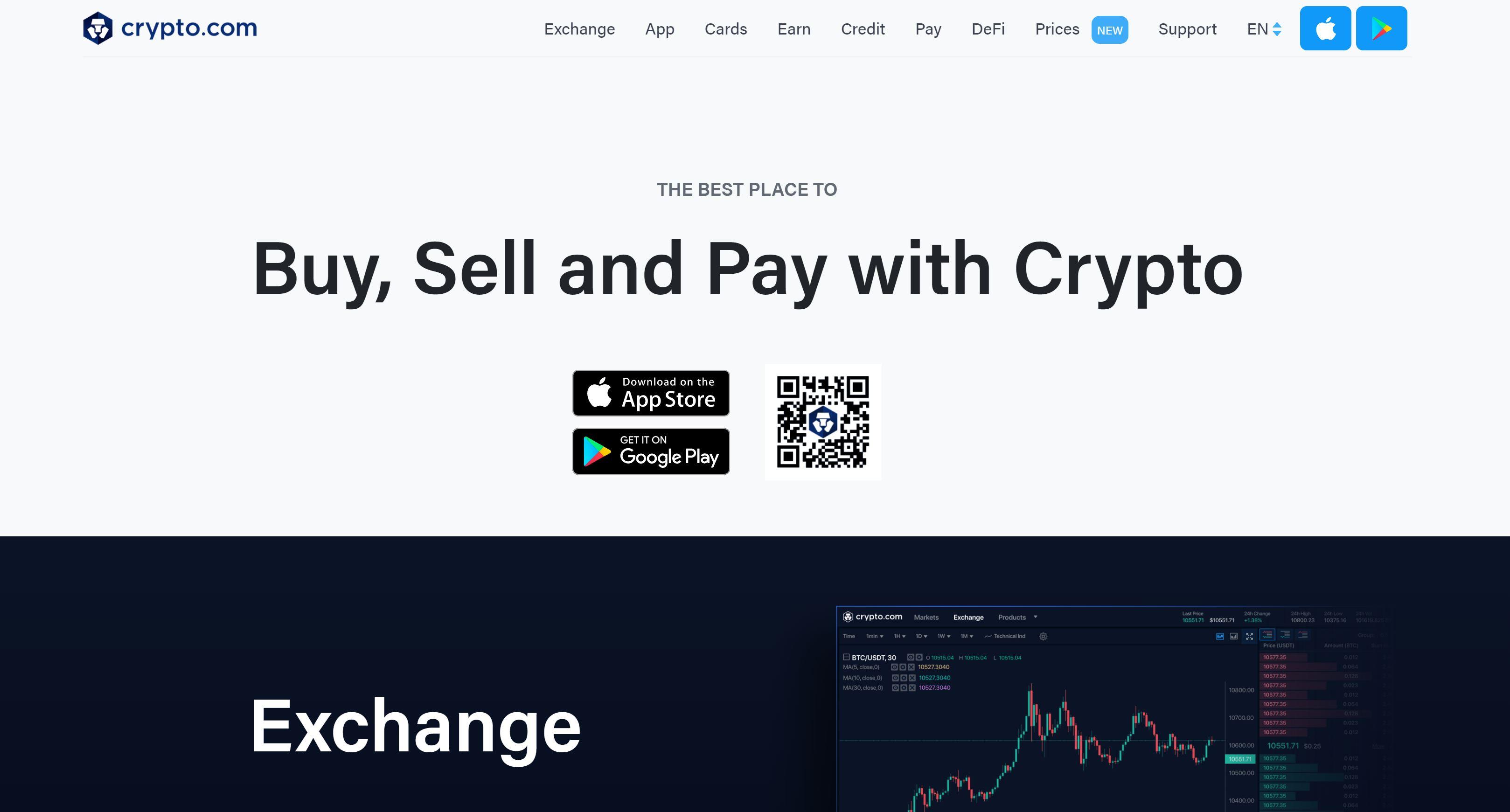 Crypto.com nettsted og logo