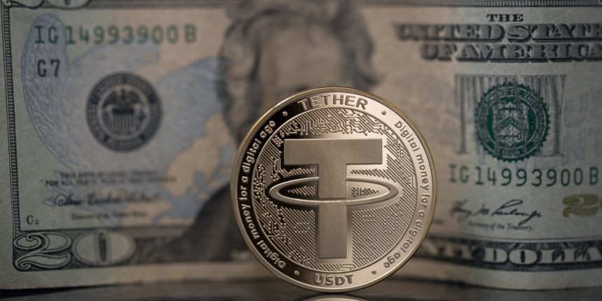 Tether logo on coin with dollar bill in the background