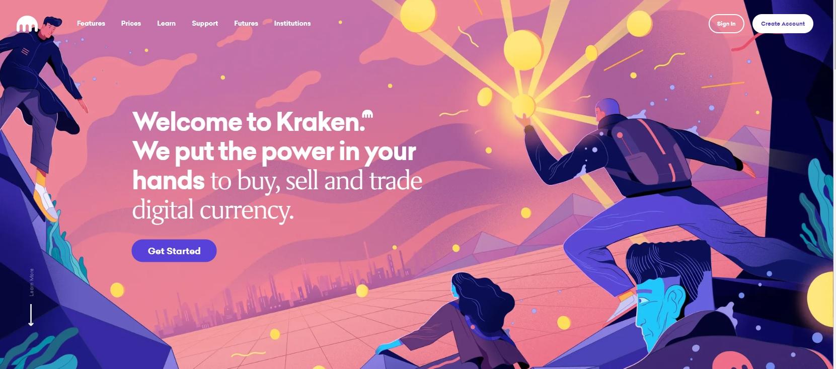 Logotipo del sitio web de la bolsa de valores de Kraken