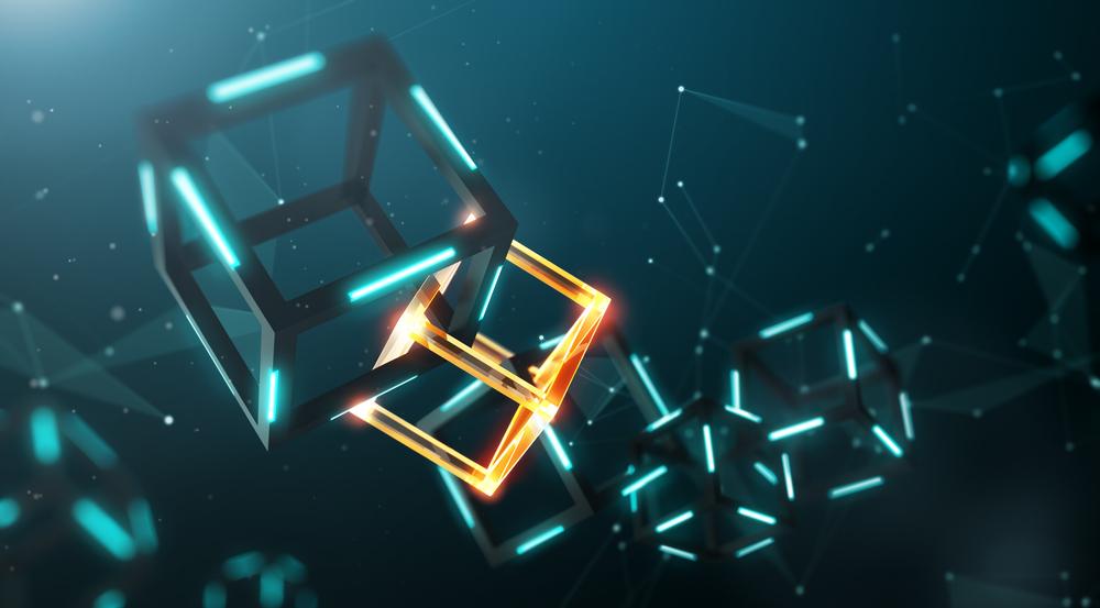 Blockchain en forma de cubos conectados