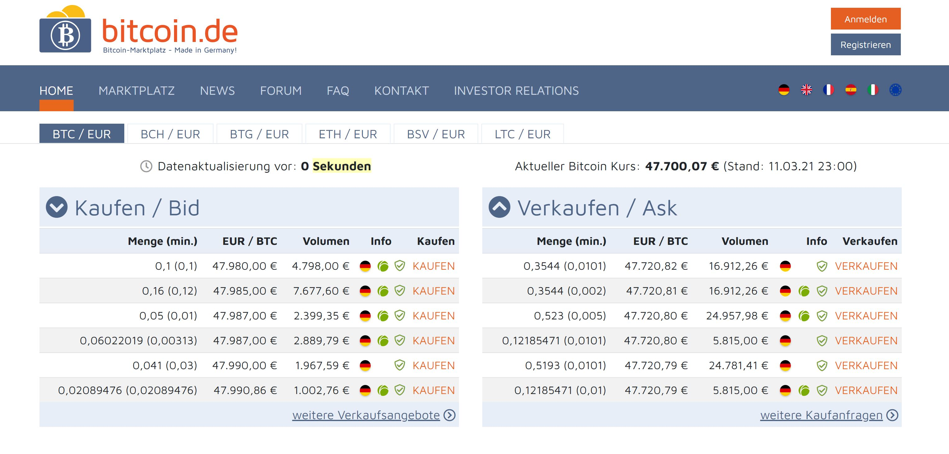 Bitcoin.de in the test, homepage and logo