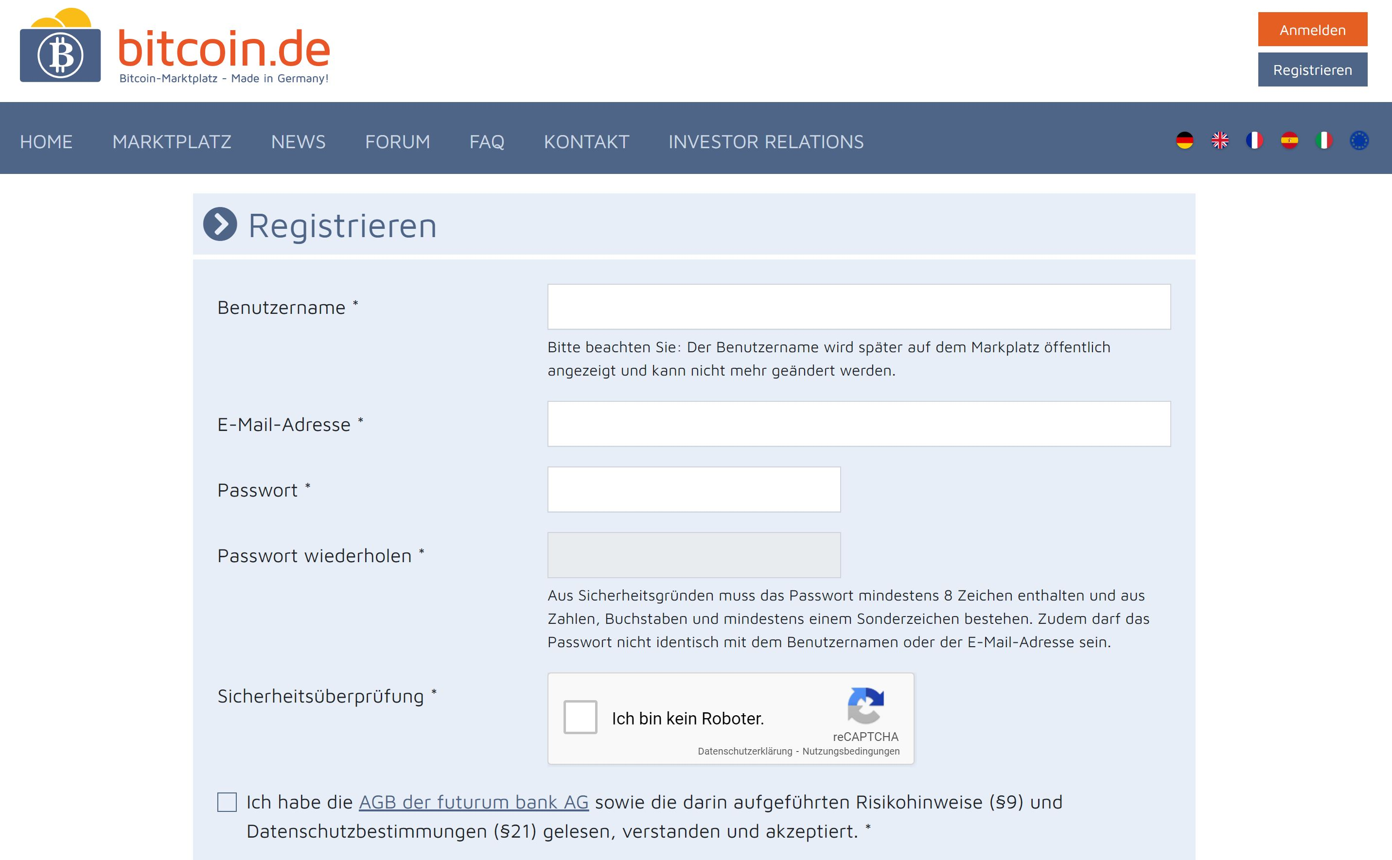 Bitcoin.de homepage account registration