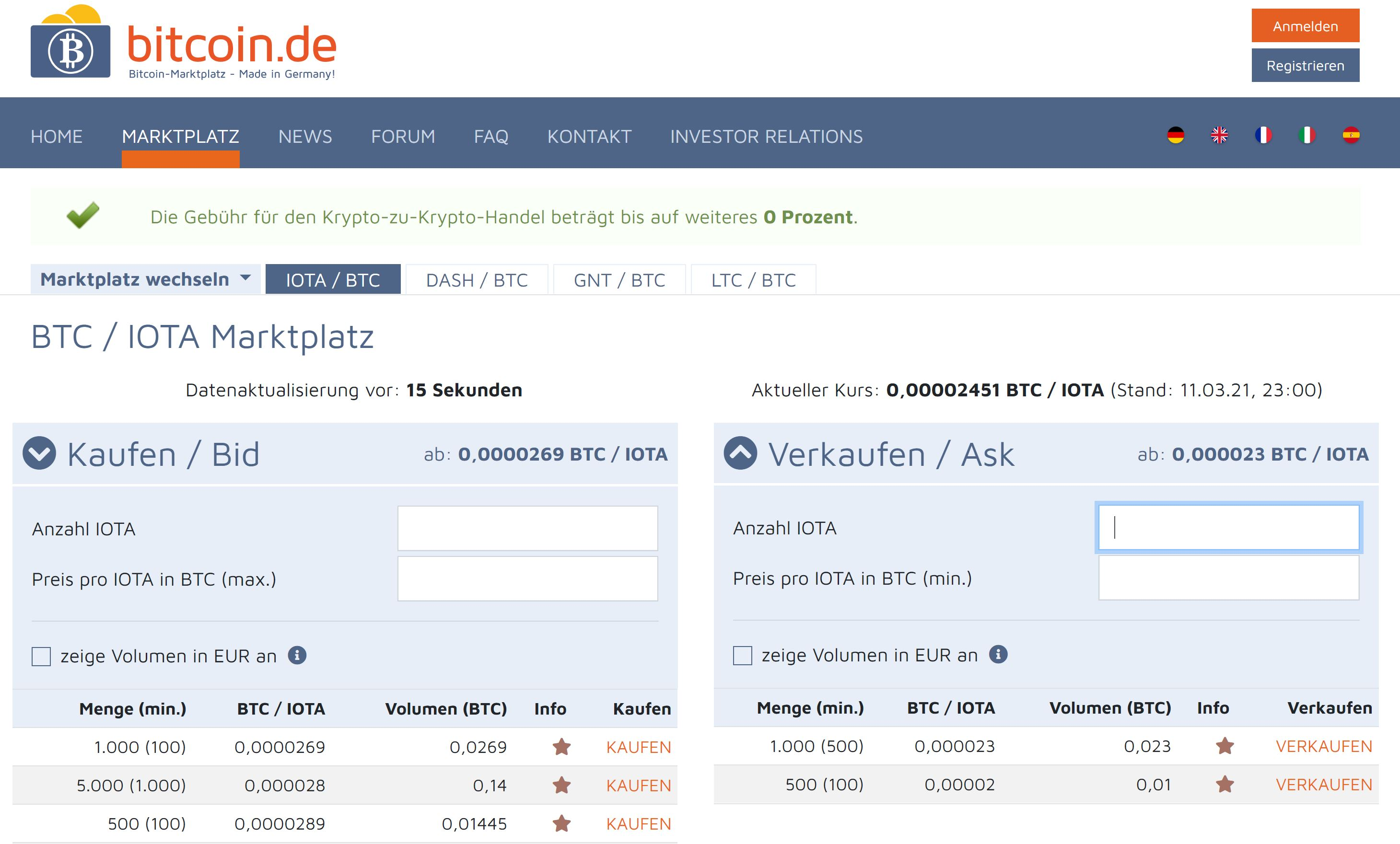 Bitcoin.de crypto trading on the website