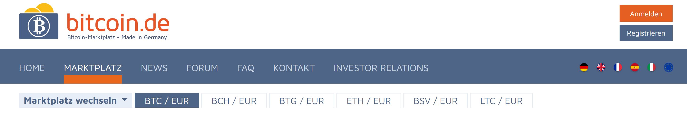 Bitcoin.de trading with fiat and crypto