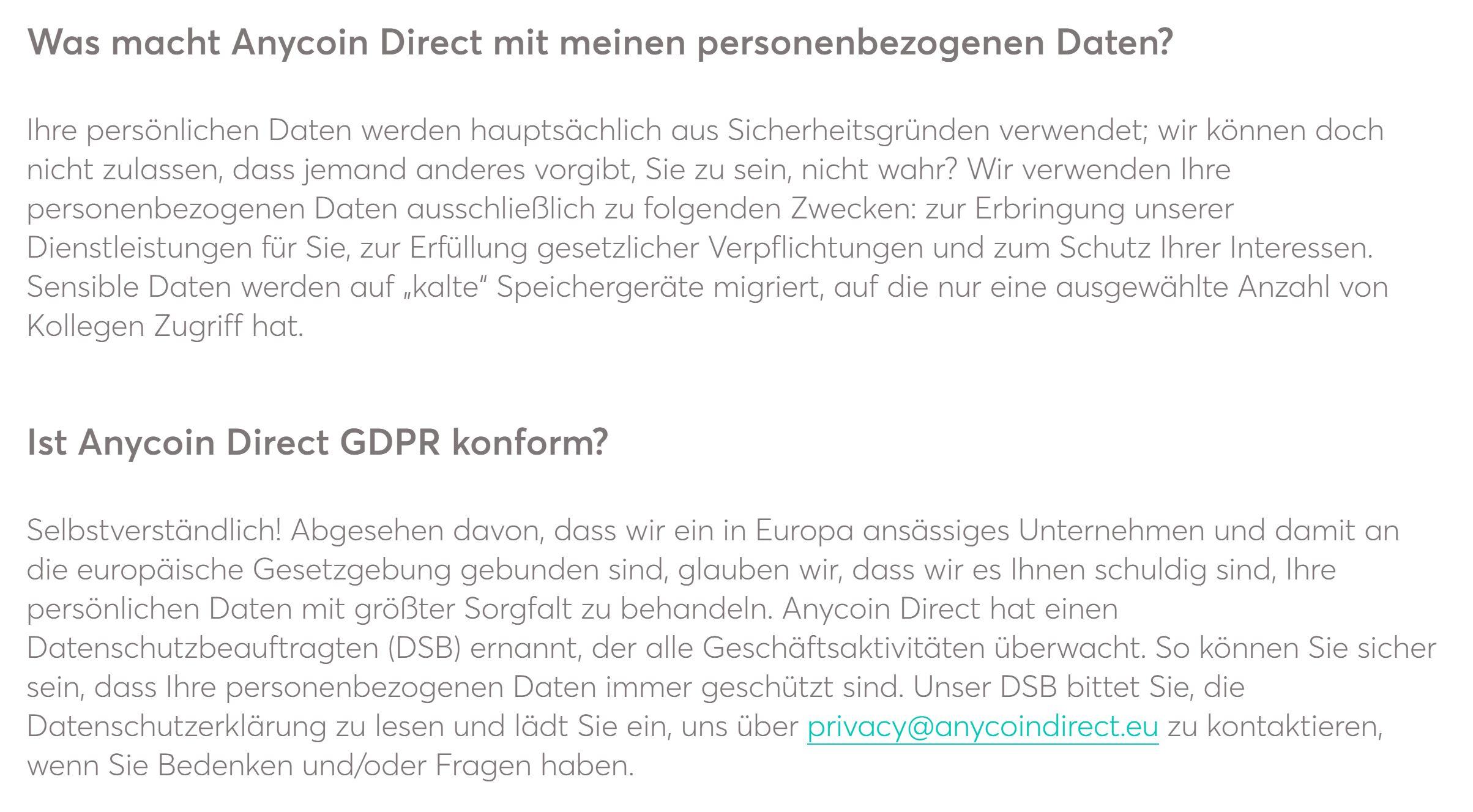 Anycoin Direct-dataskydd förklaras