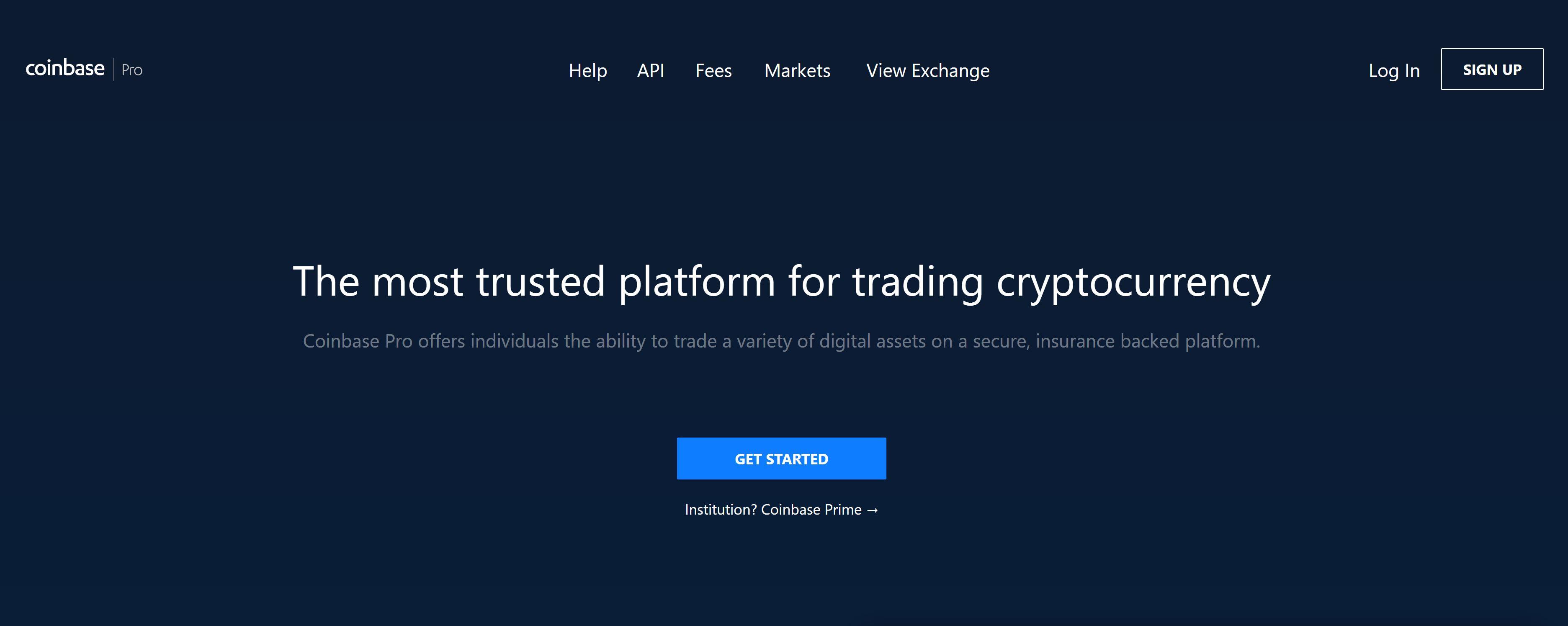 Sito Web e logo di Coinbase Pro