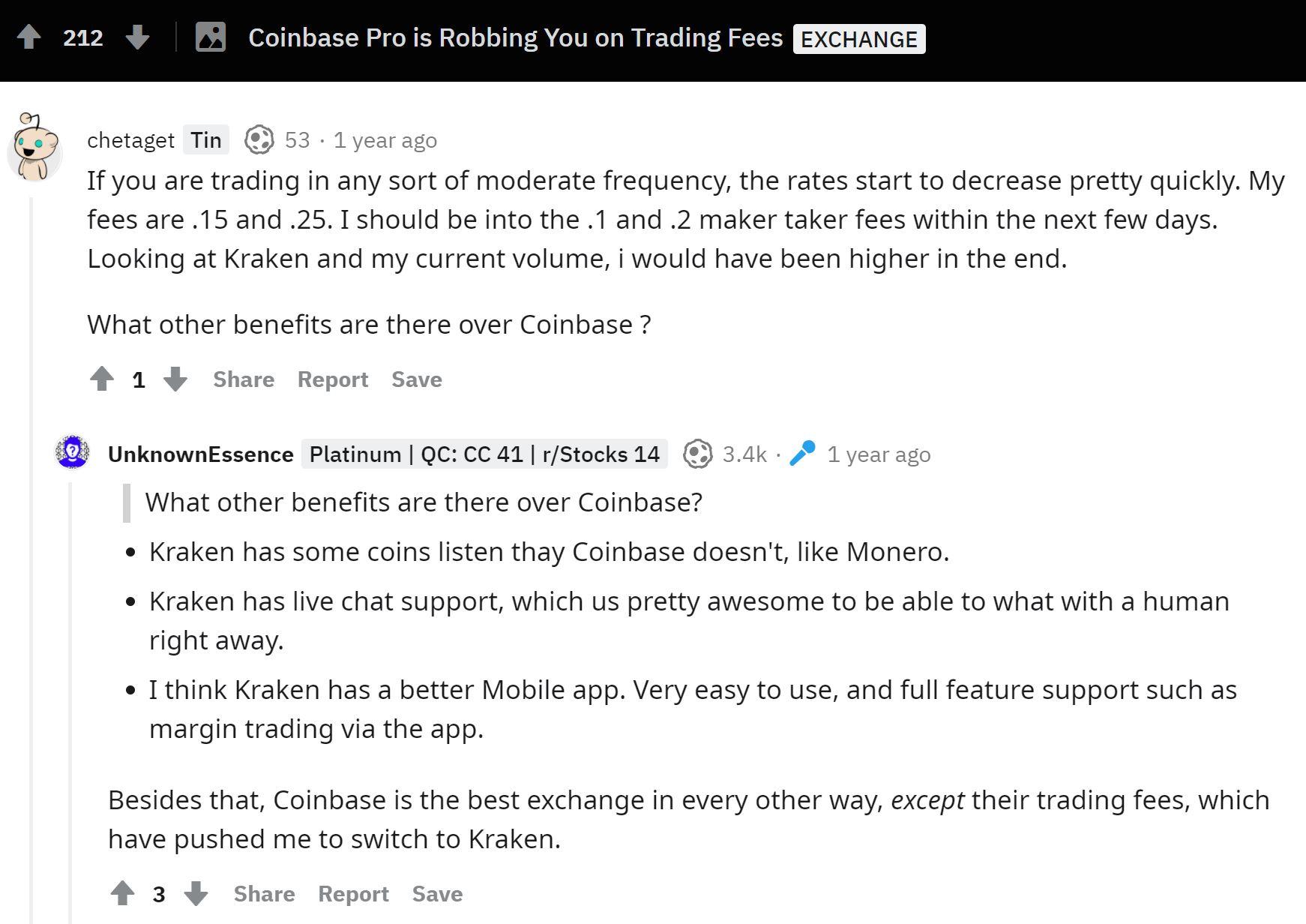 Coinbase Pro användarupplevelse Reddit