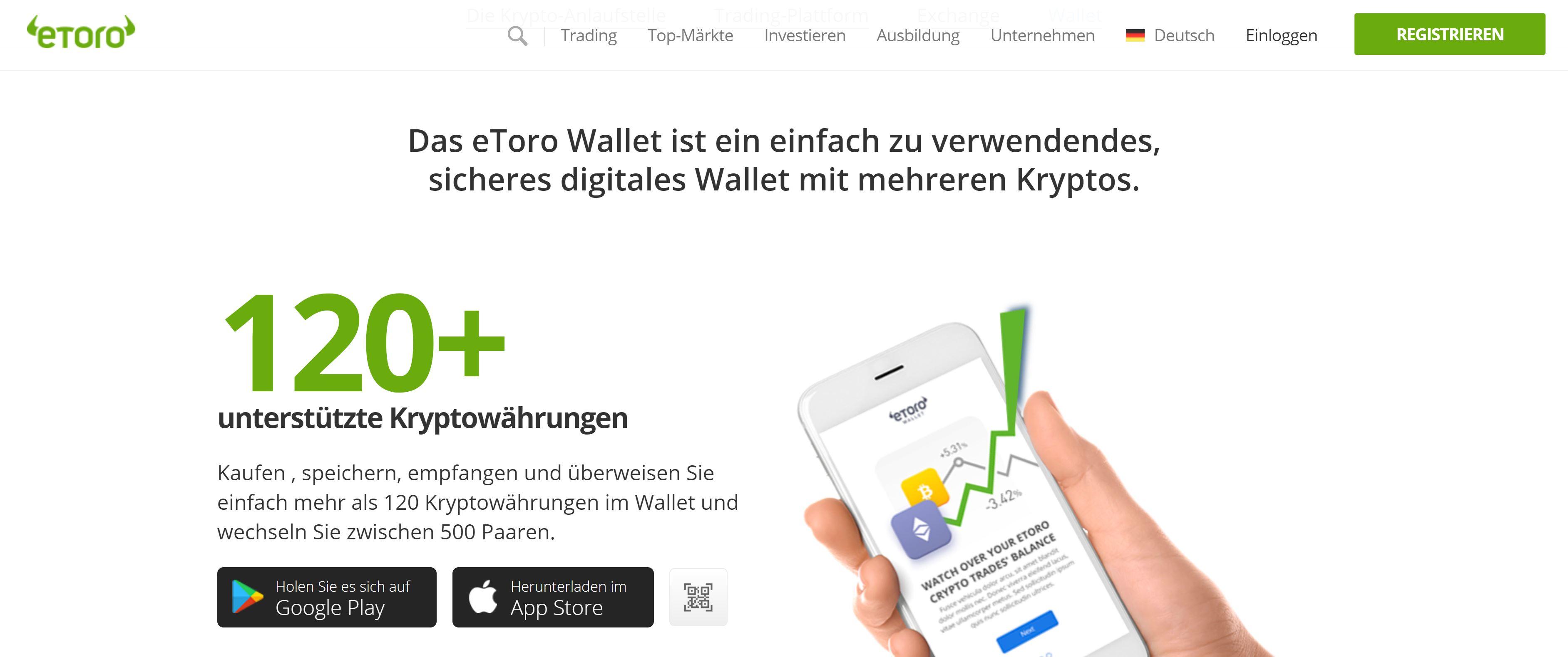 Sito web di eToro Wallet