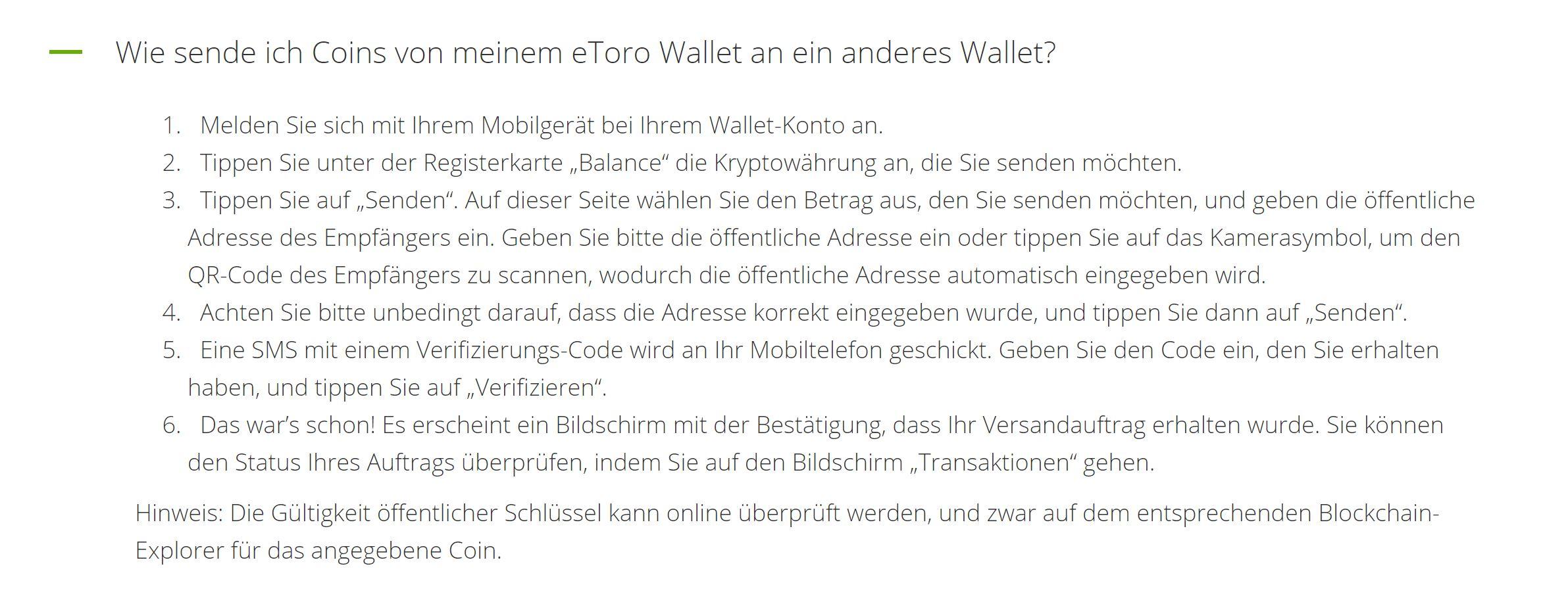 eToro Wallet Krypto senden