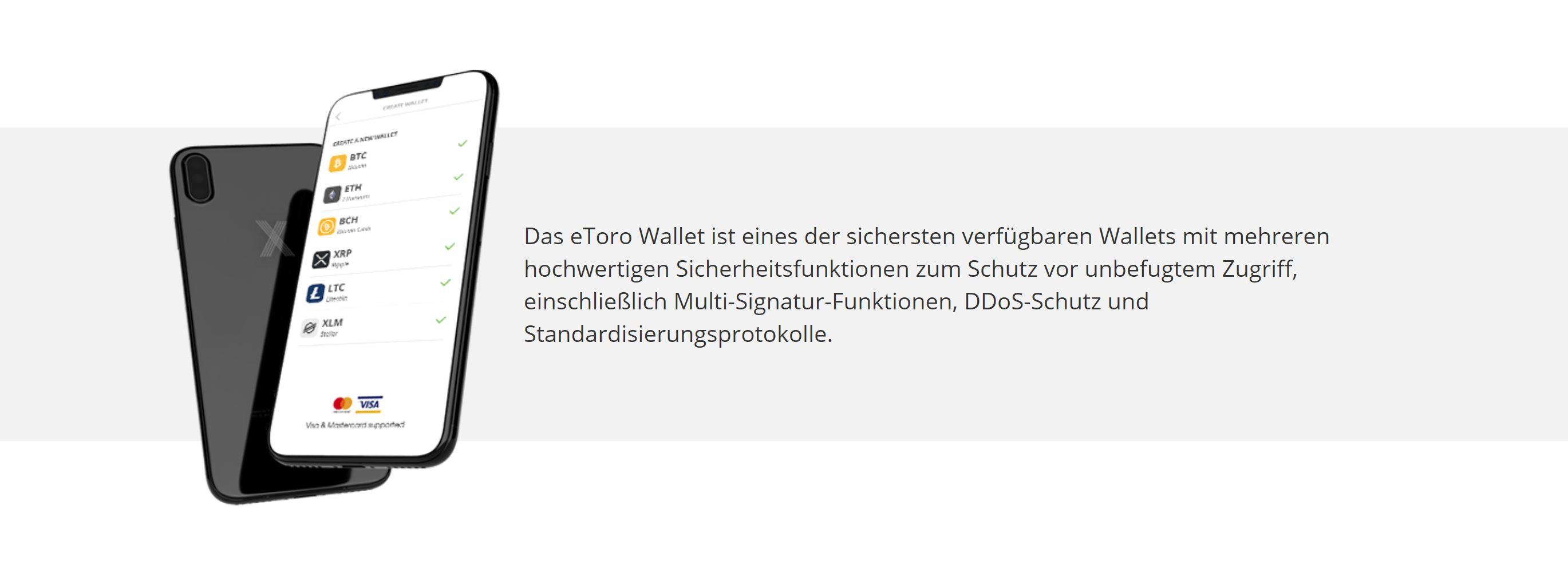 Misure di sicurezza di eToro Wallet