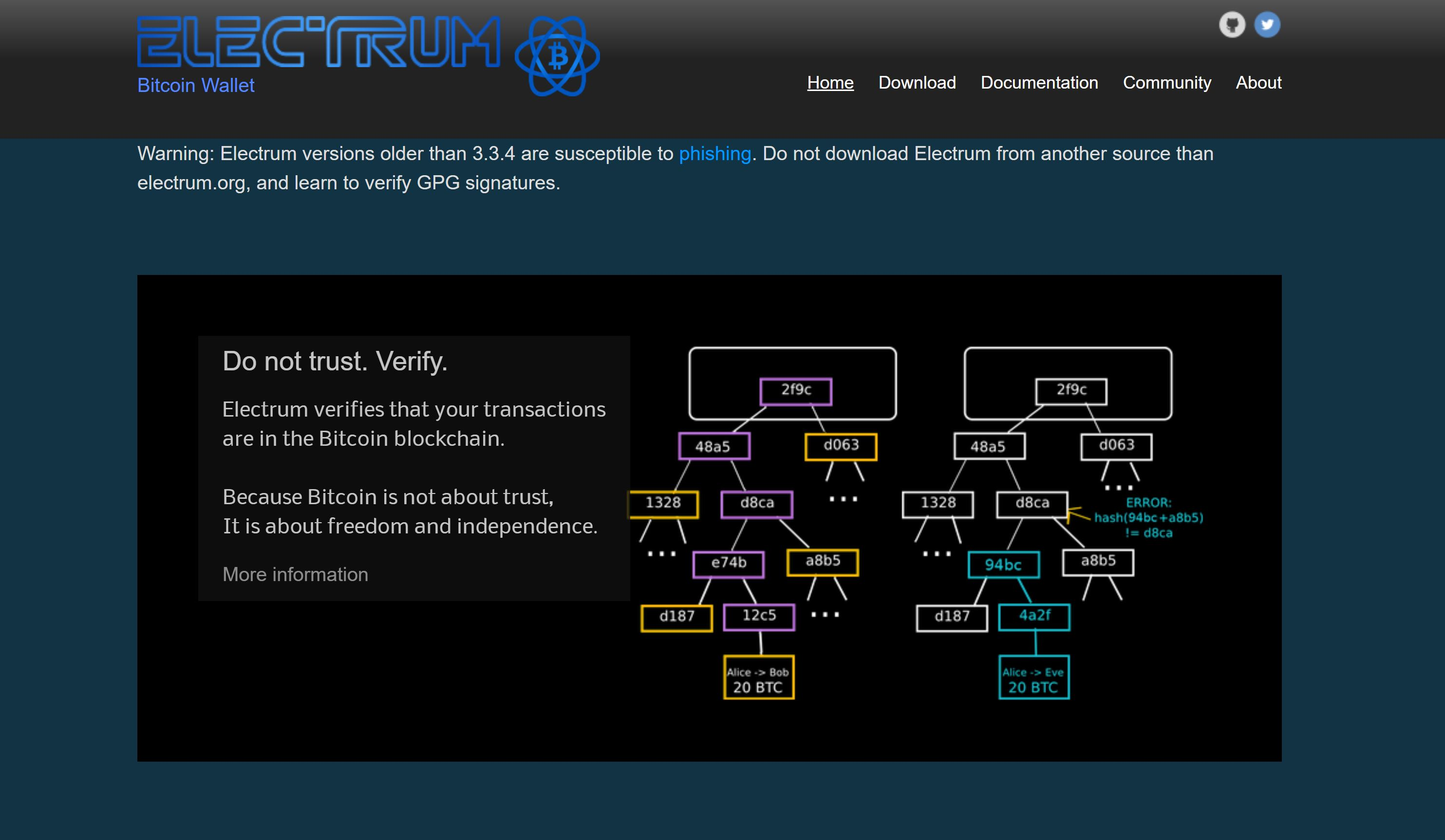 Sitio web de Electrum Wallet