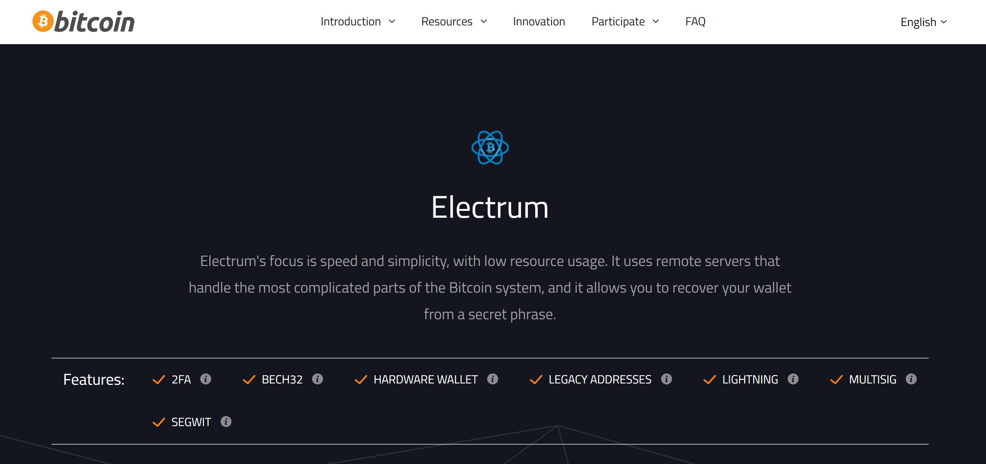 Aanbeveling Electrum Wallet Bitcoin-website