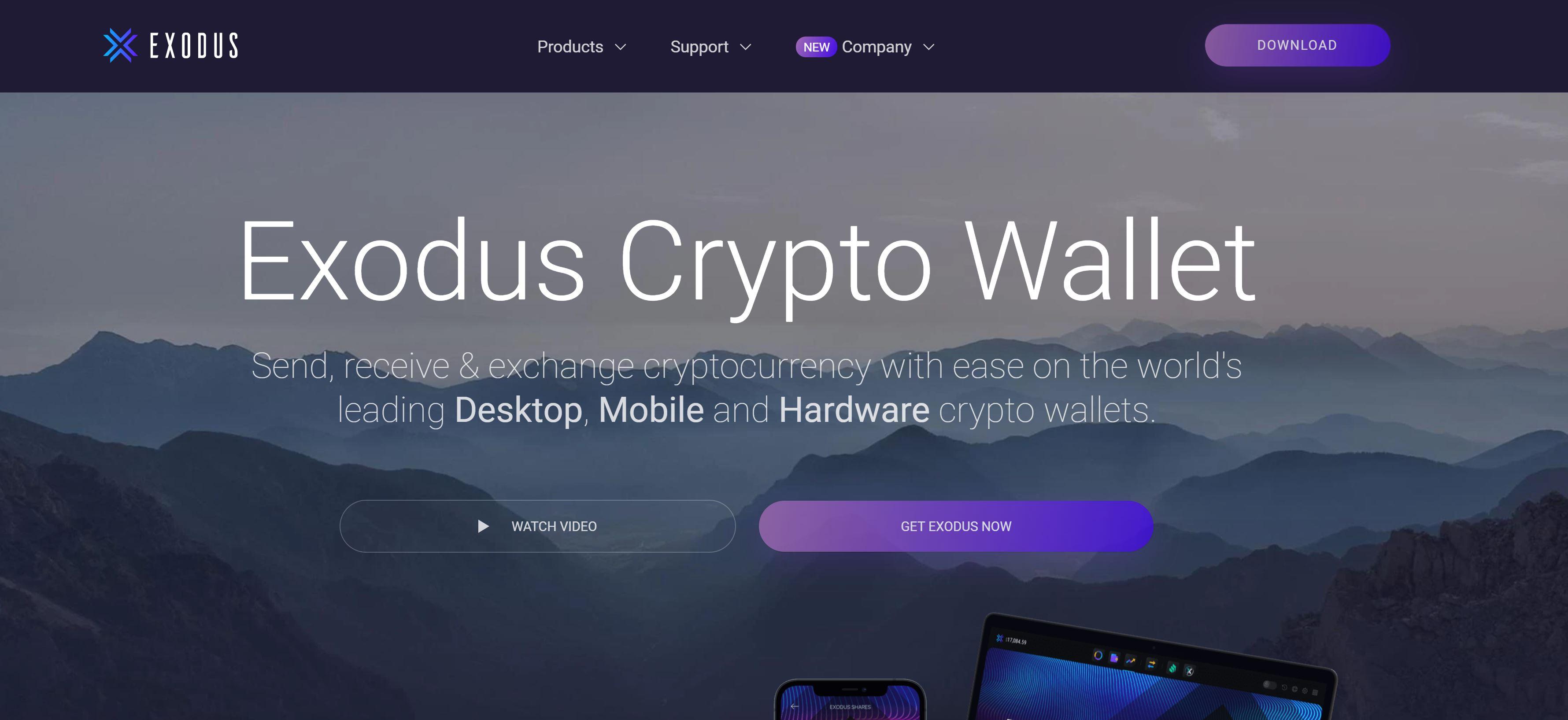 Exodus Wallet website