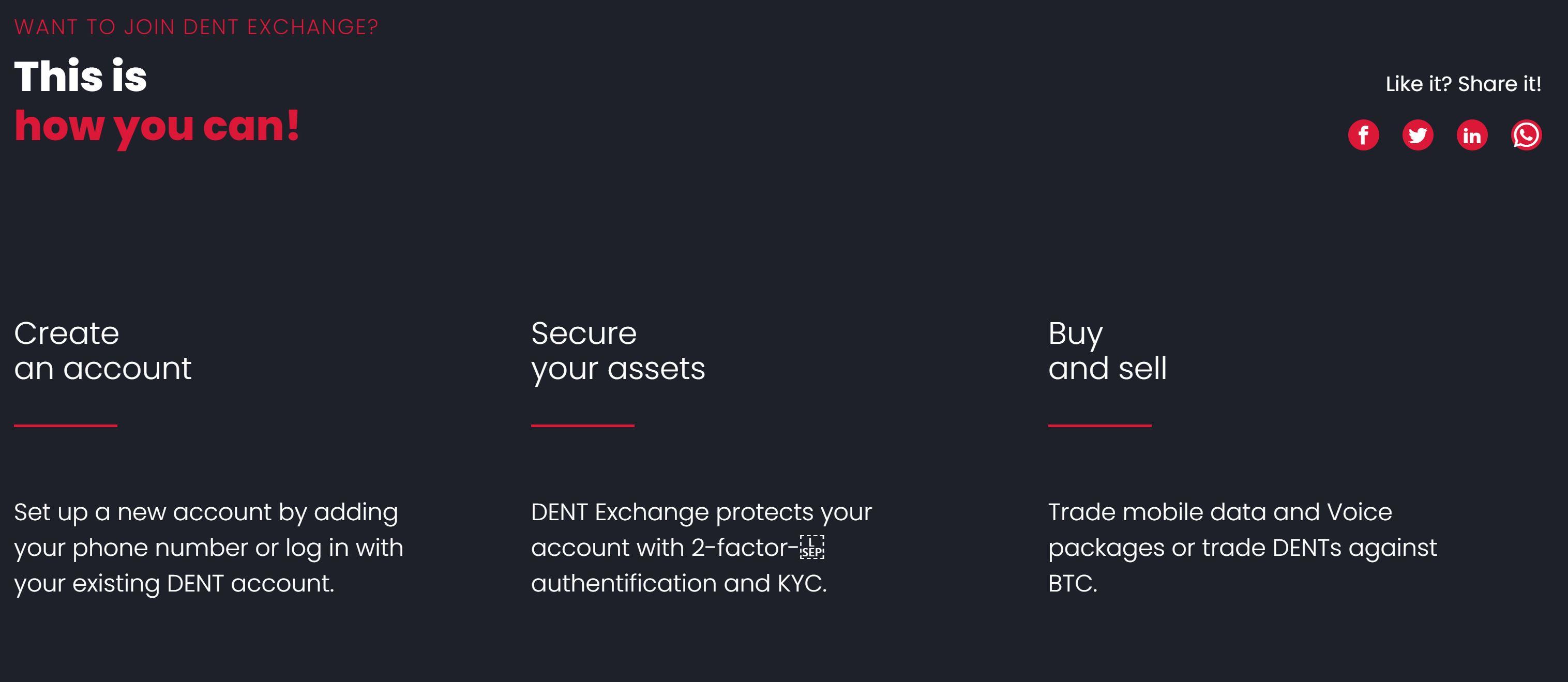 Dent Exchange - Funktionen des Coin