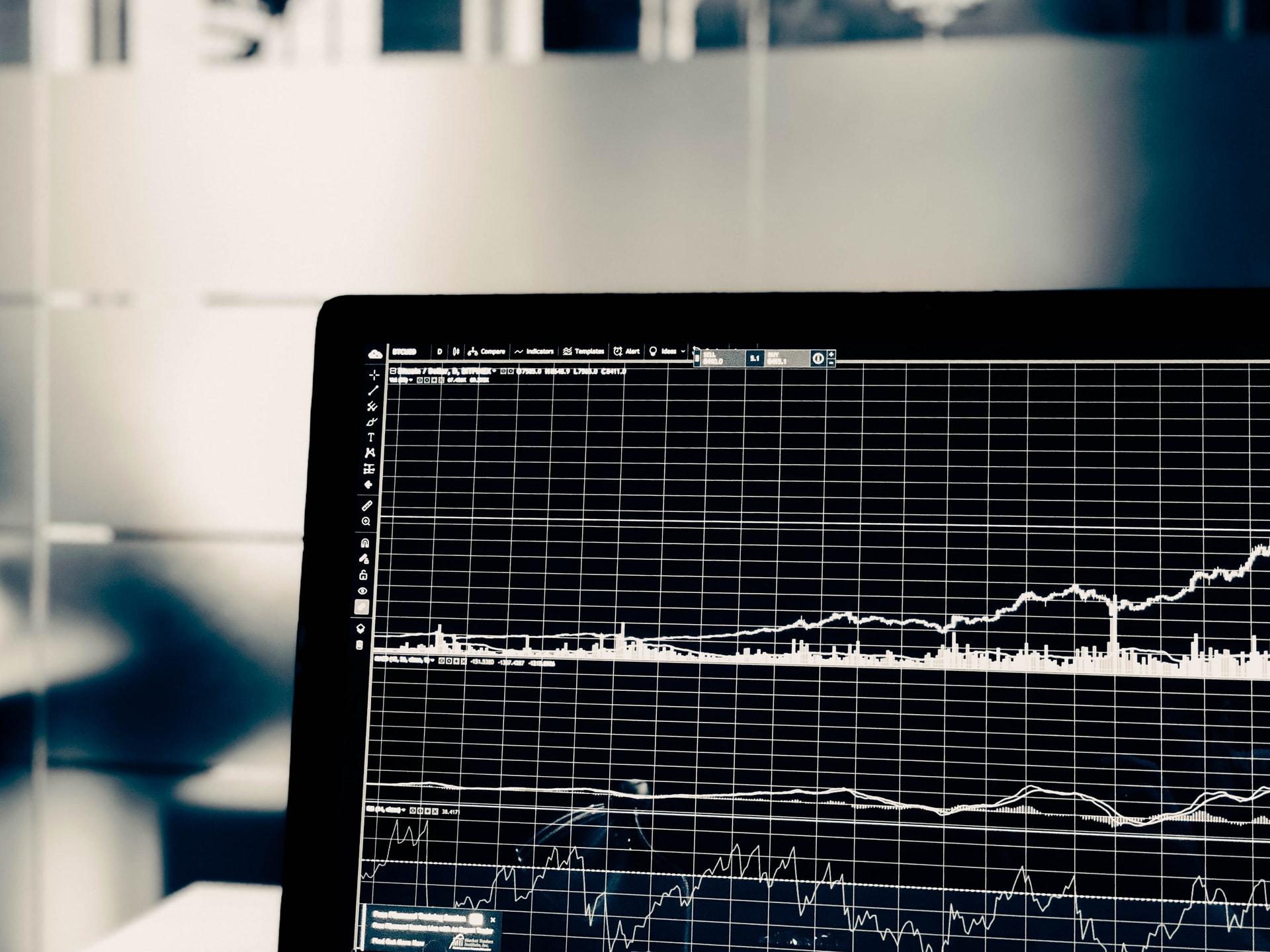 Chart Analysis black and white laptop screen