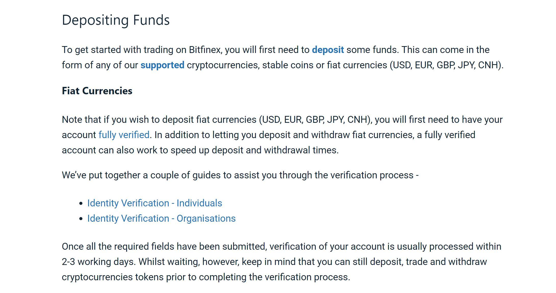 Deposit money into Bitfinex account