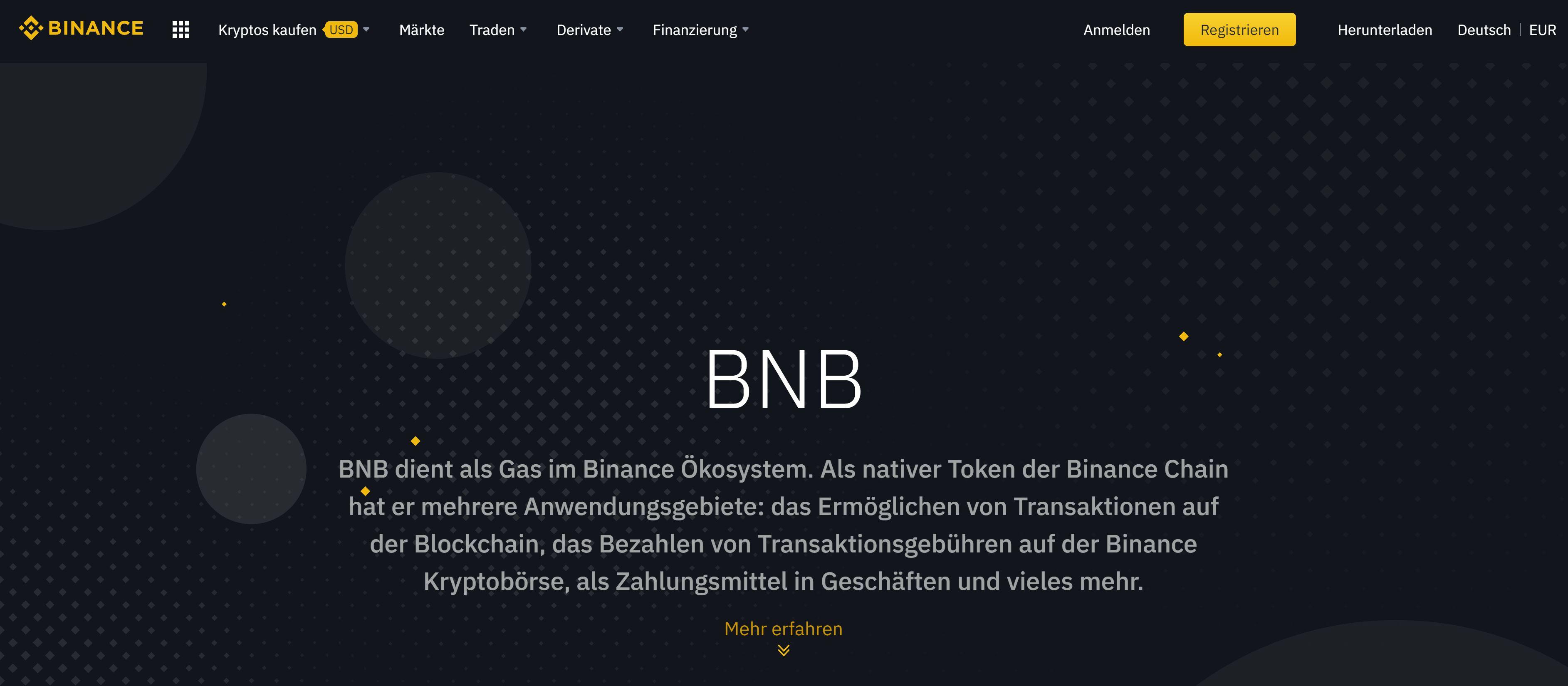 Binance Coin Webseite