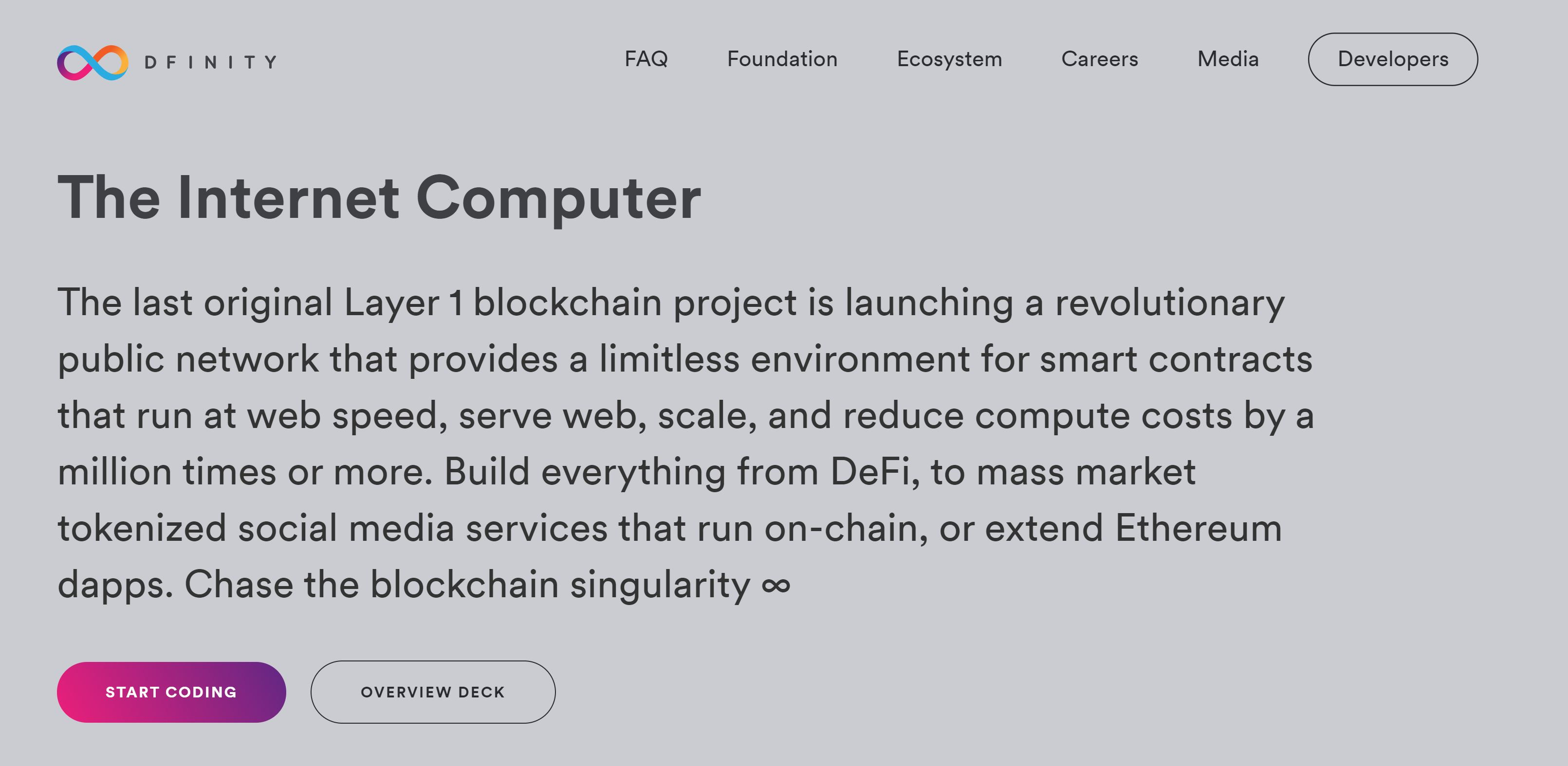 Website van Internet Computer Dfinity Foundation