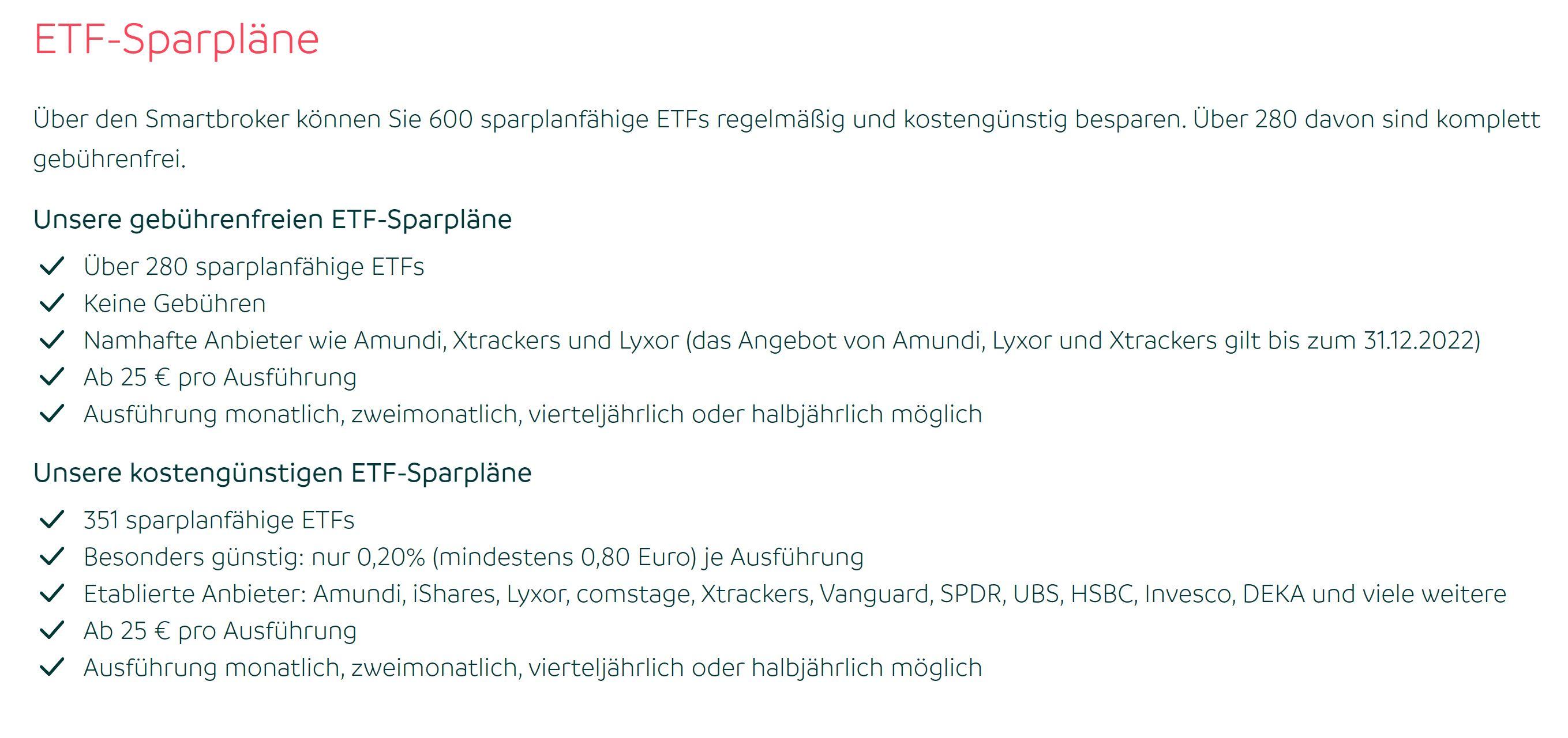 Smartbroker ETF savings plan