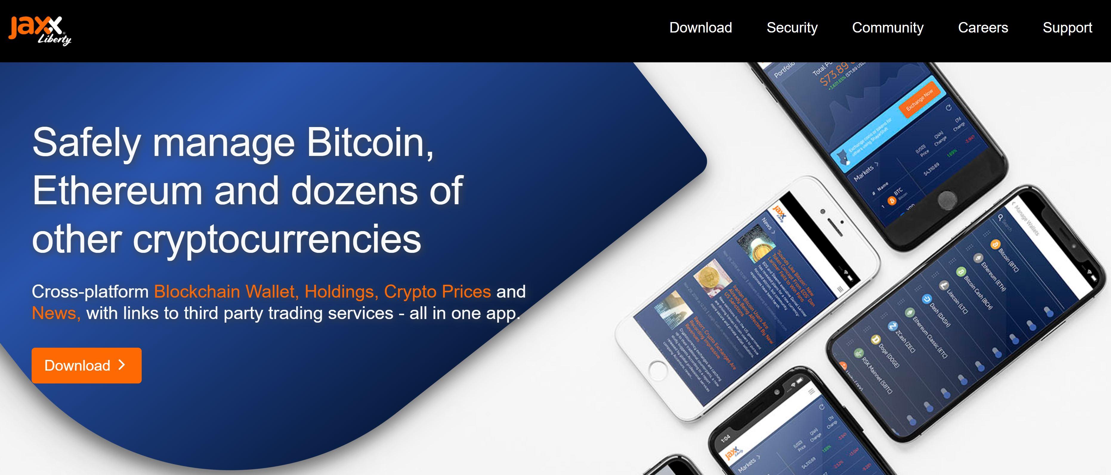 Jaxx Wallet-webbplats