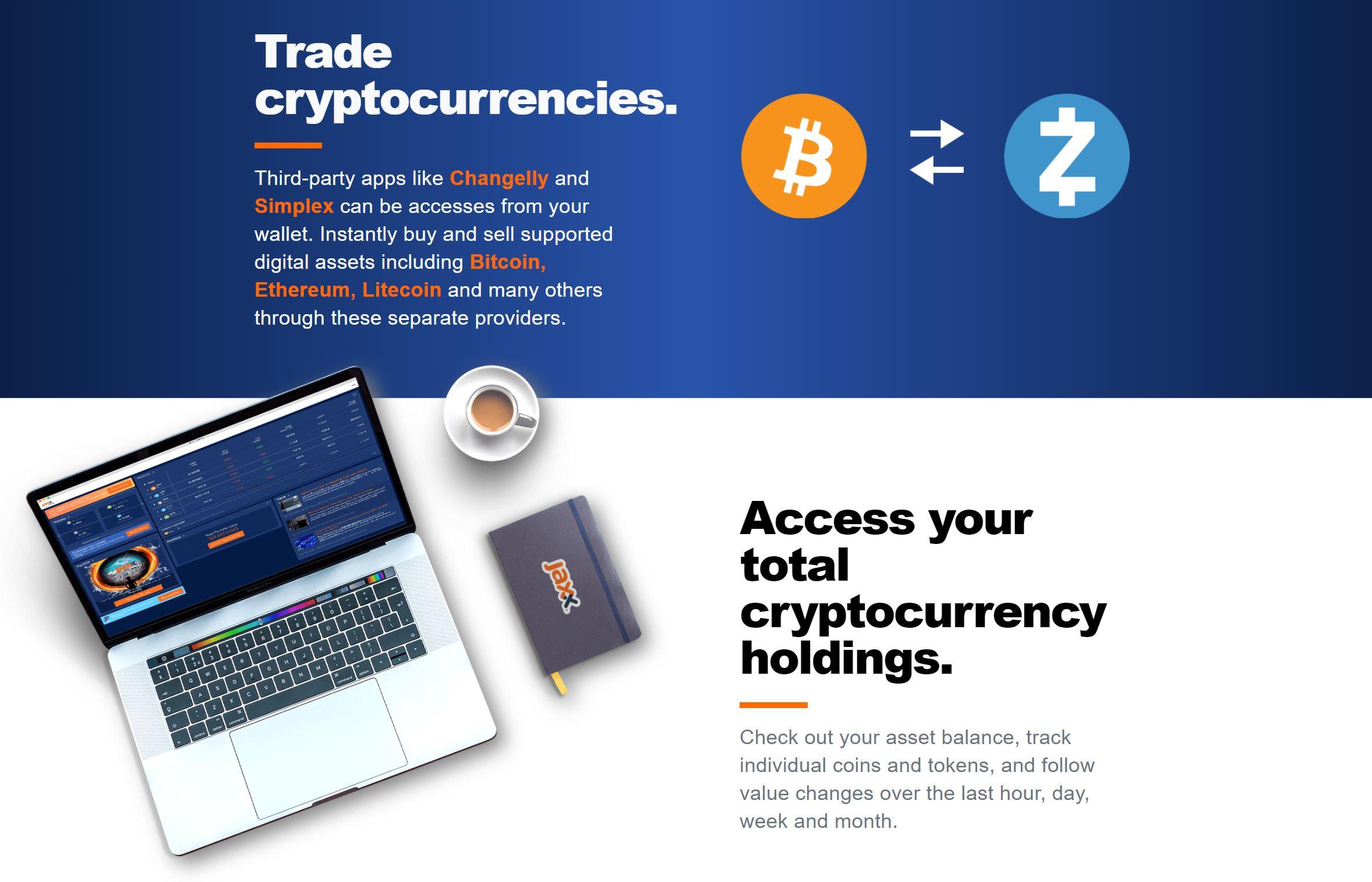 Jaxx Wallet handlar med kryptovalutor