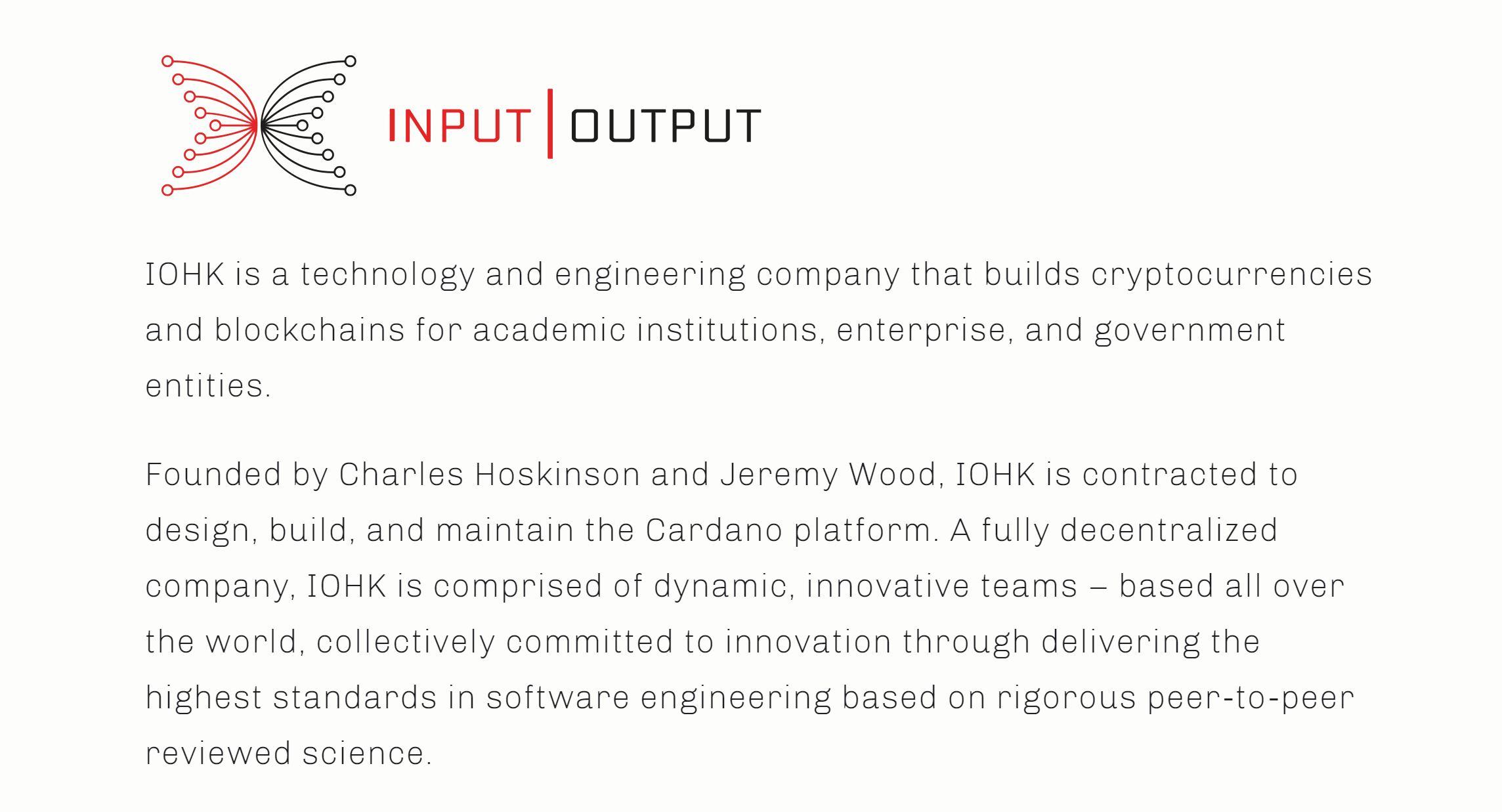 Cardano Partner Input Output Hong Kong