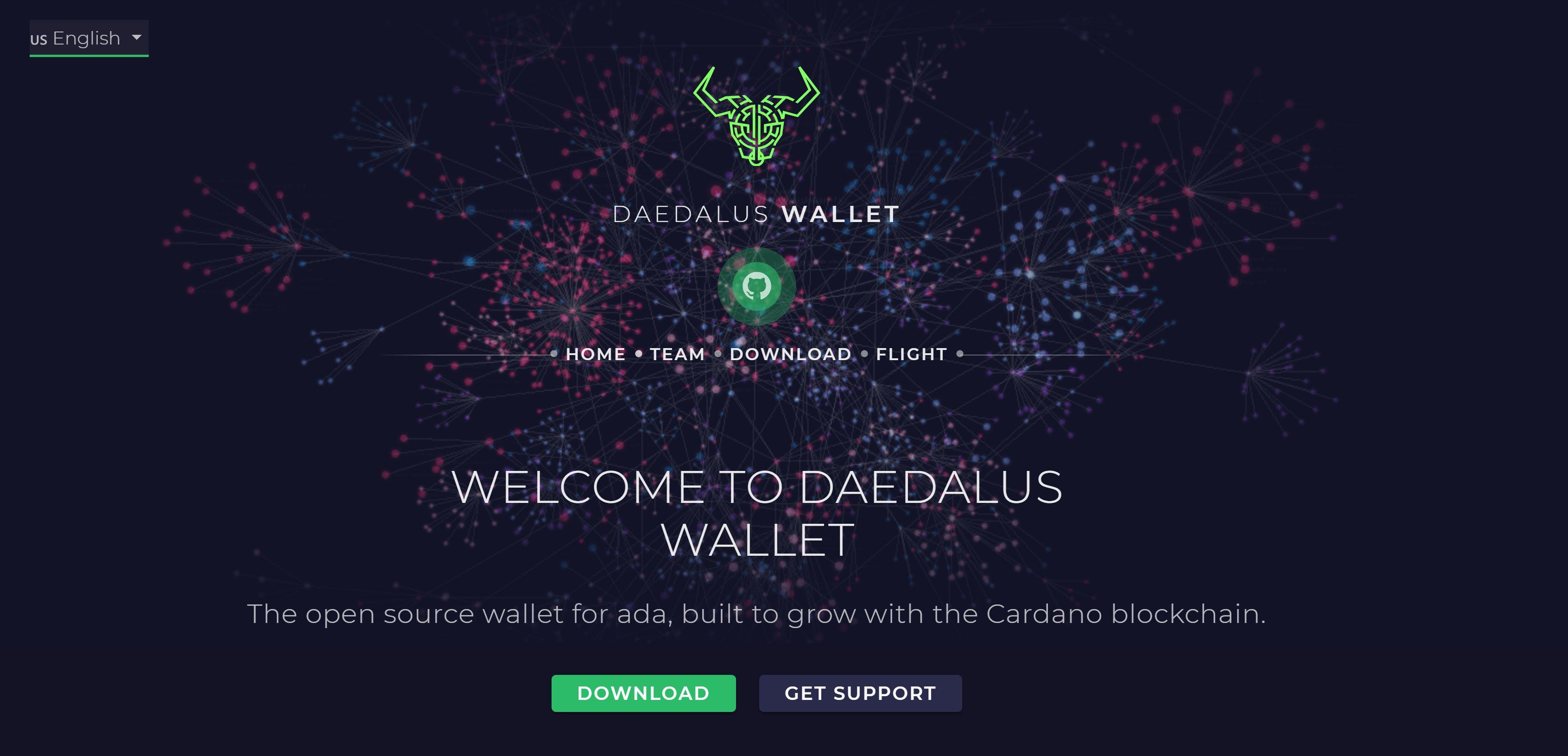 Sitio web de Daedalus Wallet