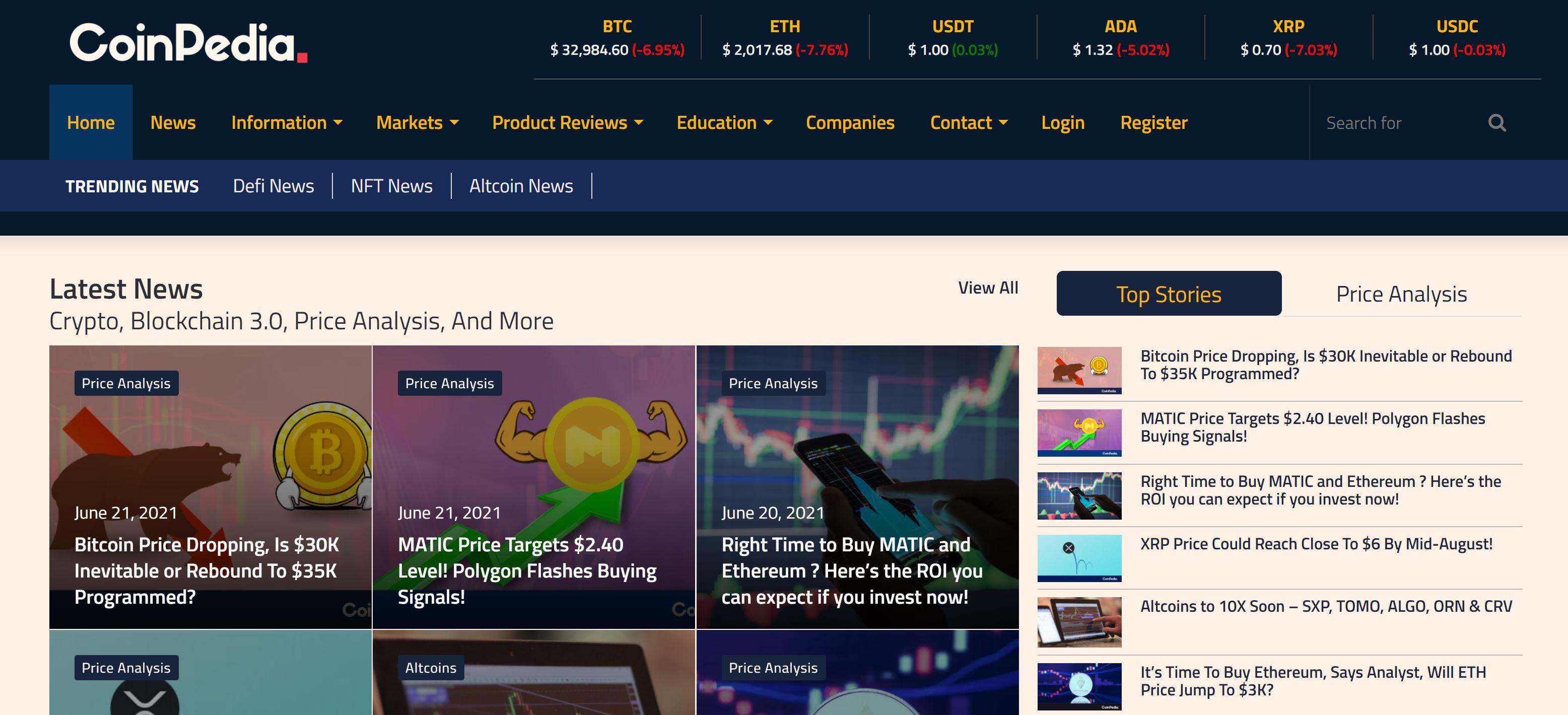 Sitio web de Coinpedia