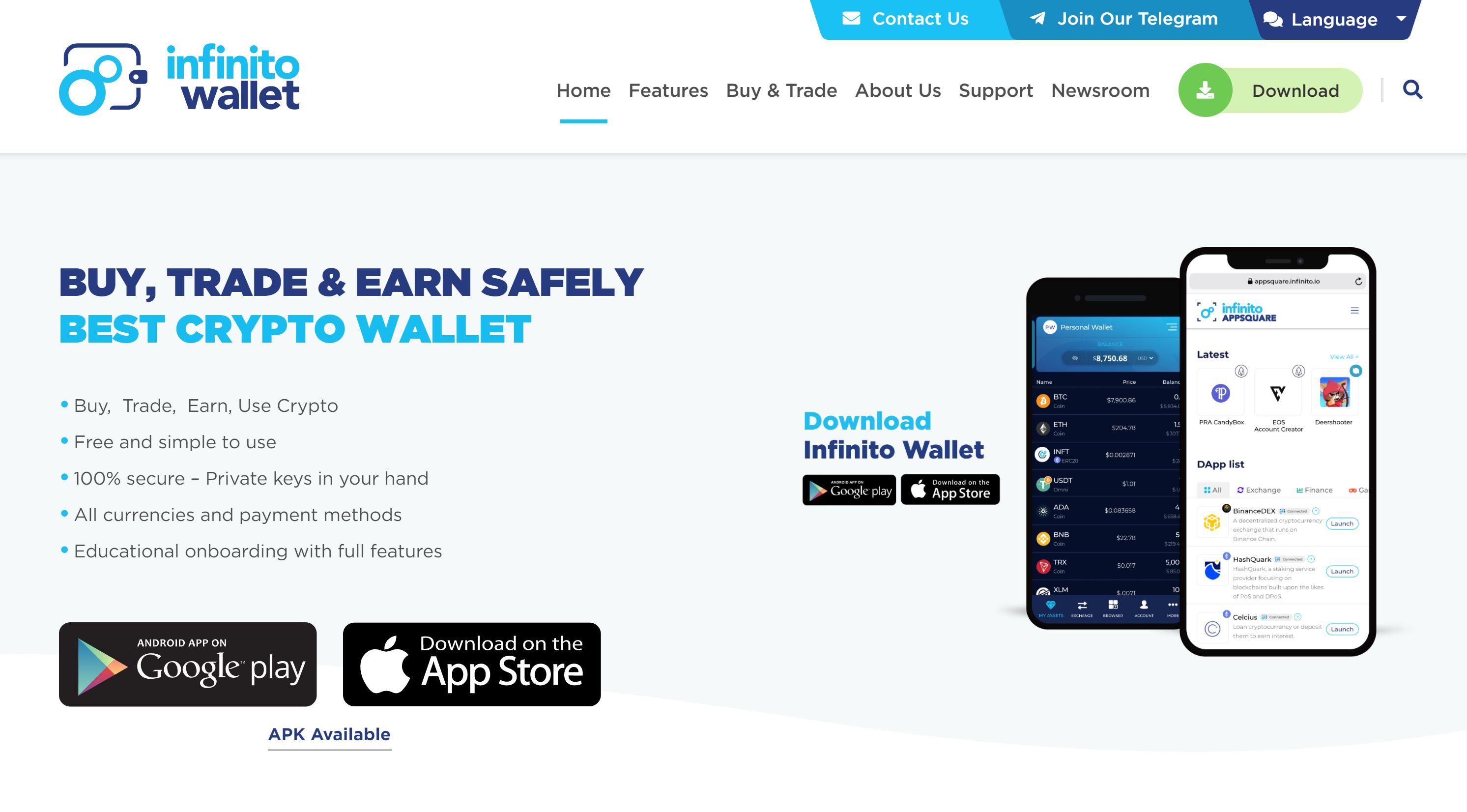 Infinito Wallet-website