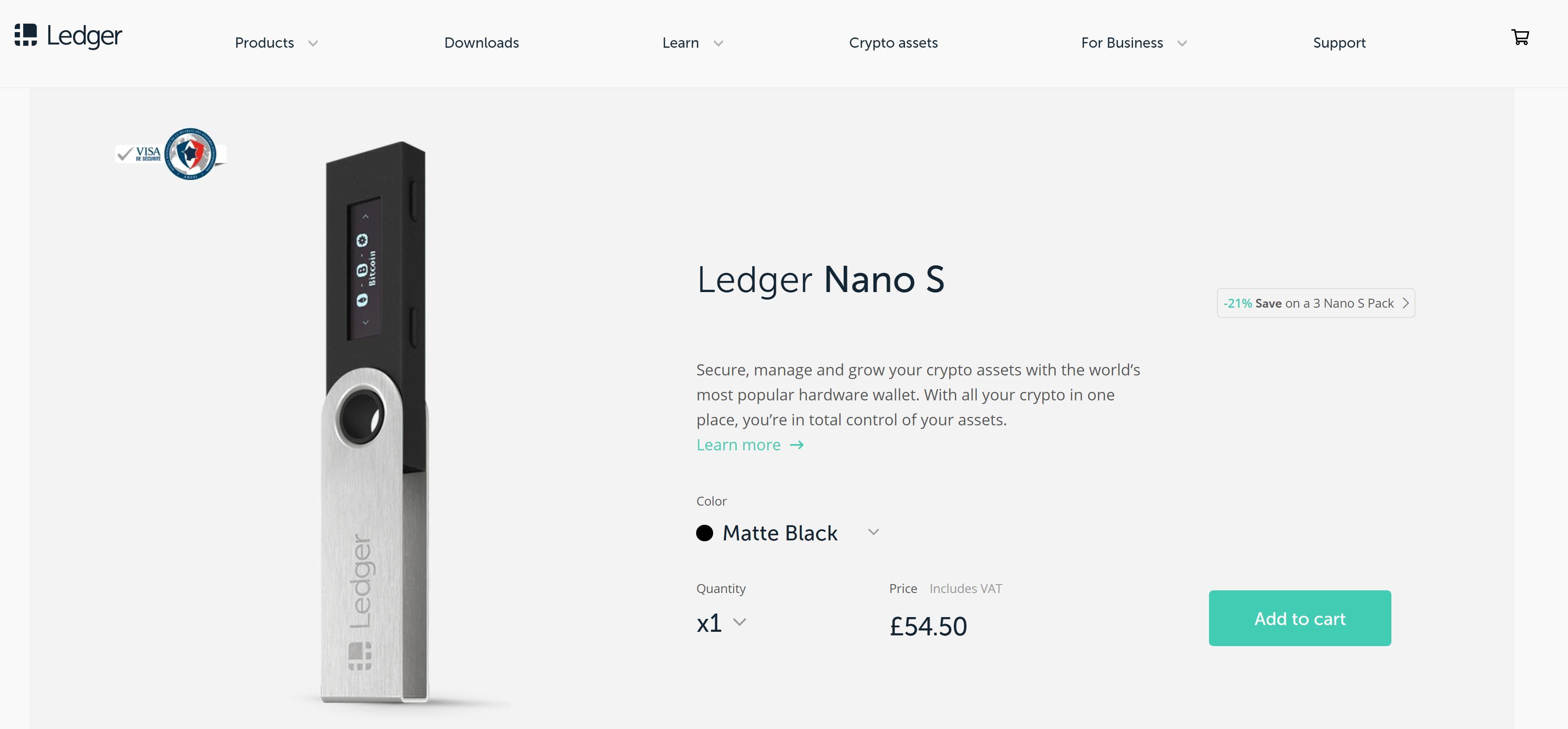 Ledger Nano S im Online Shop