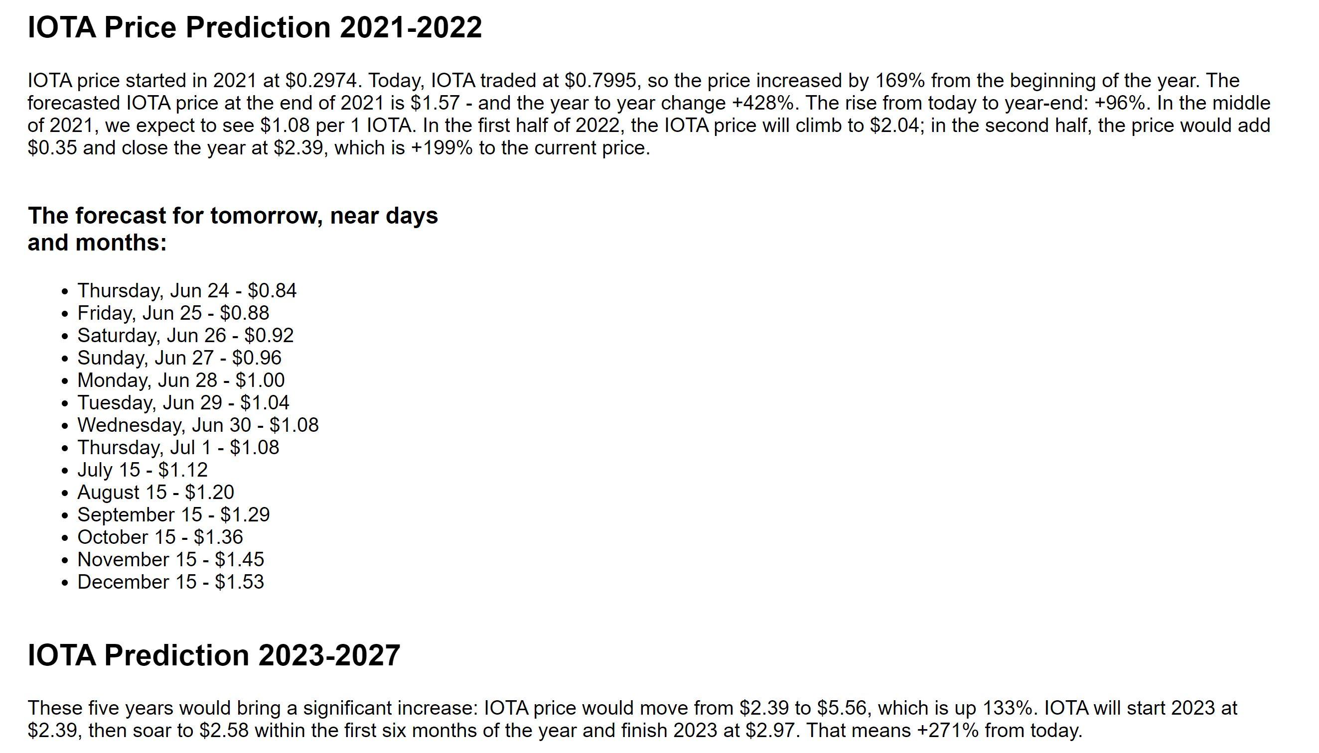 IOTA CoinPriceForecast forecast