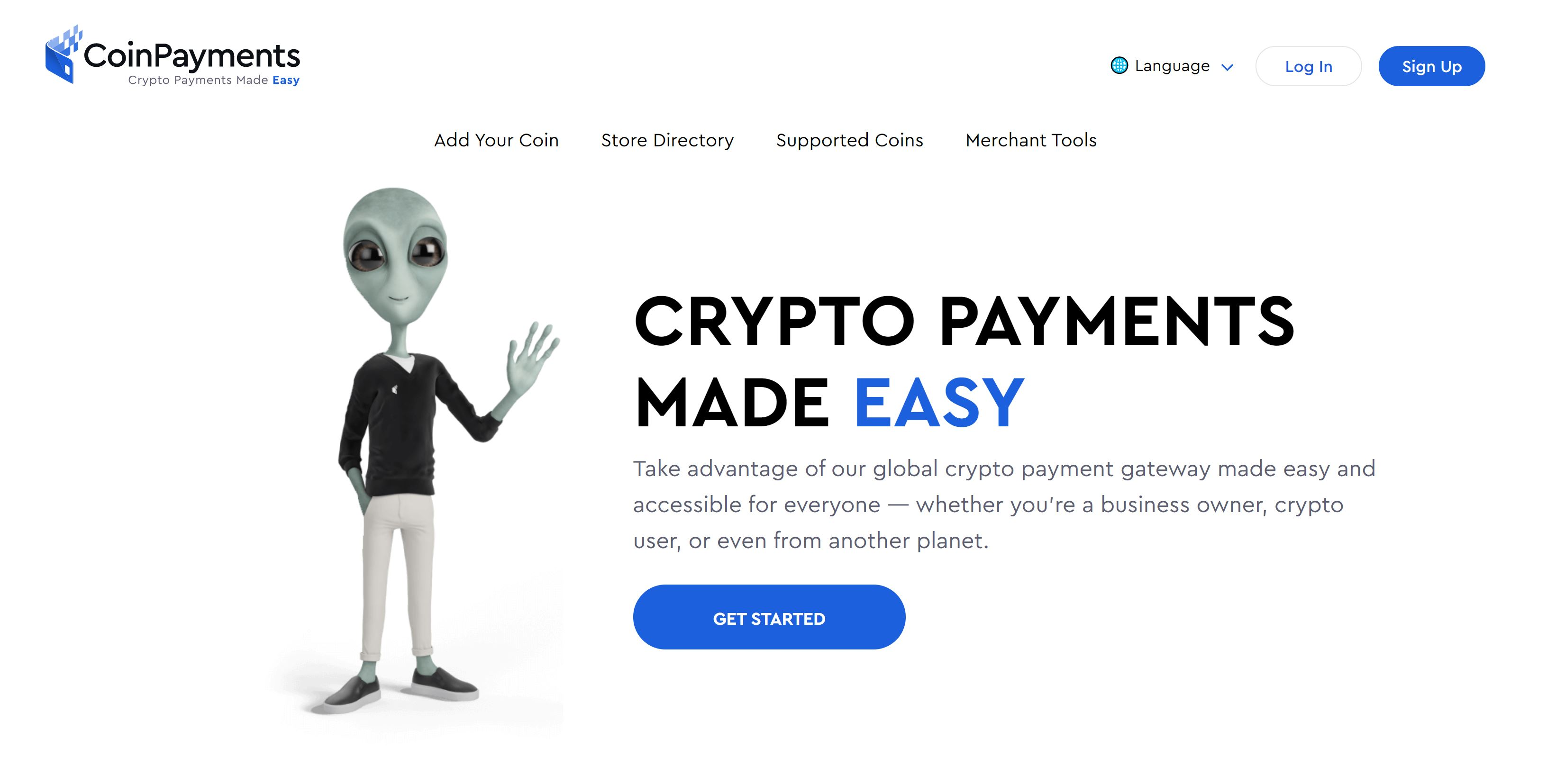 CoinPayments Webseite