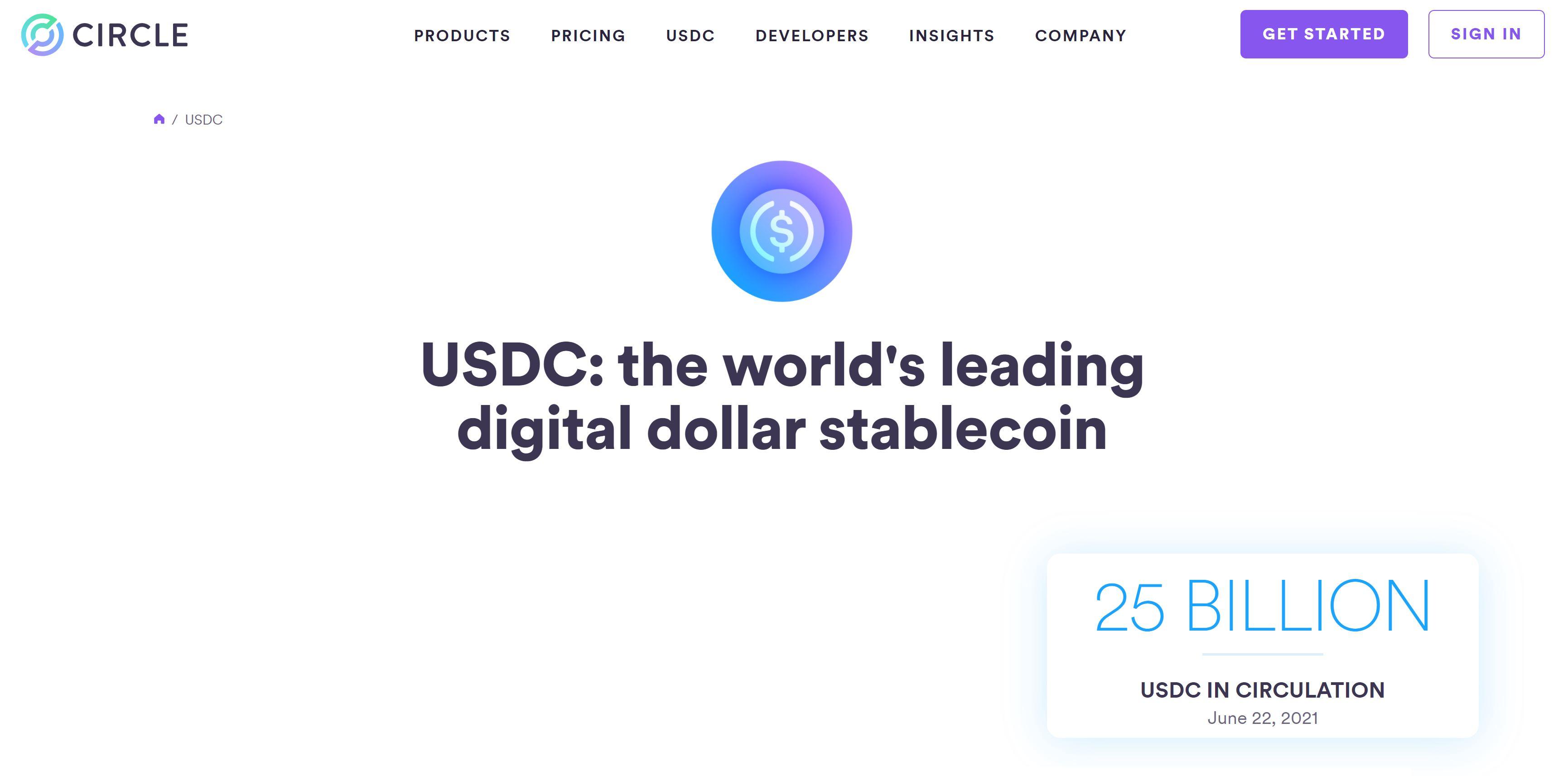USD Coin CIrcle-website