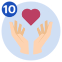 #10 Two hands laid open, with a heart symbol floating between them