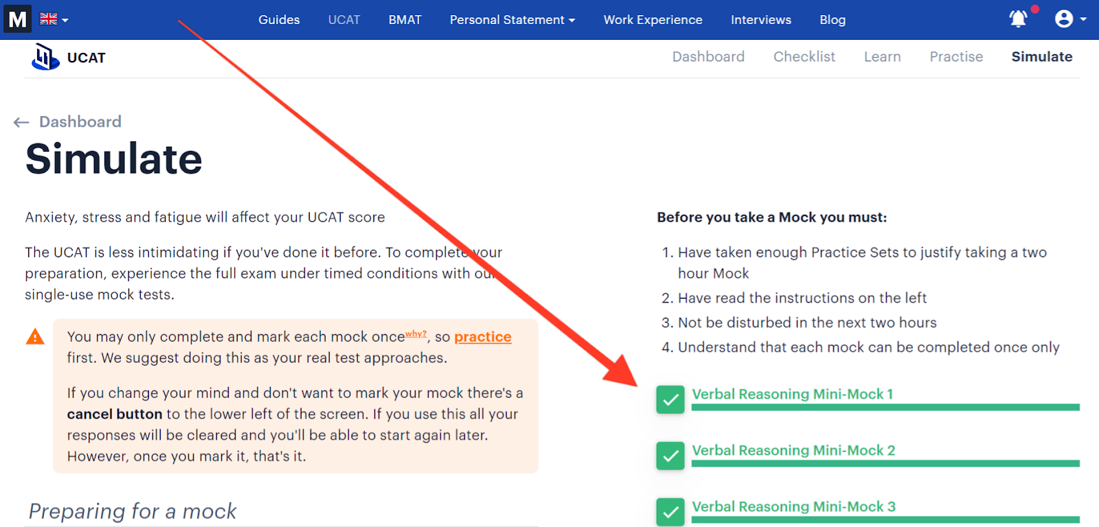Screenshot of Medify's UCAT course with a red arrow pointing towards the mini-mocks.