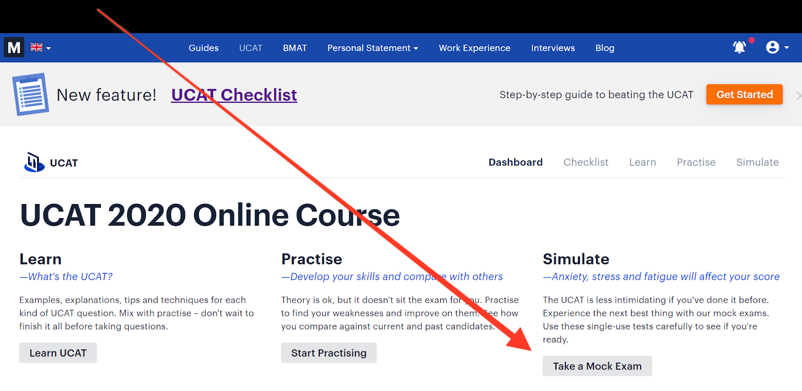 """Screenshot of Medify's UCAT course with a red arrow pointing towards the button """"Take a Mock Exam"""""""