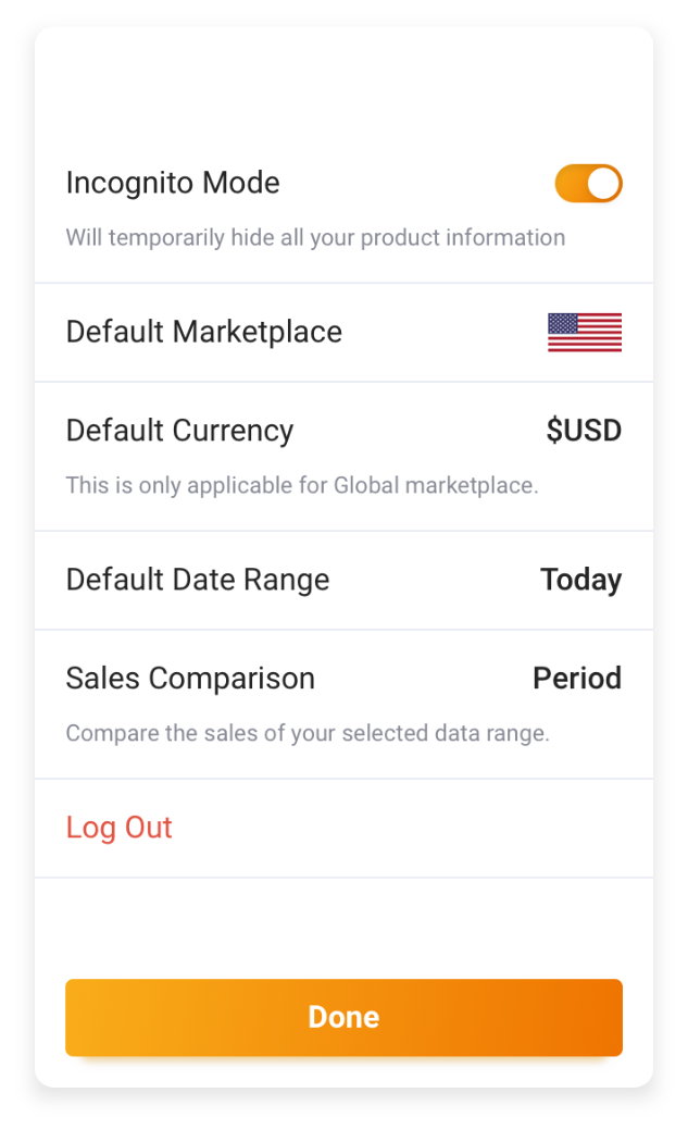An image of the Settings component used in the app Seller Metrix