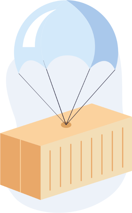 An illustration of a parachute holding a large metal container, referring to the enterprise plan of the app