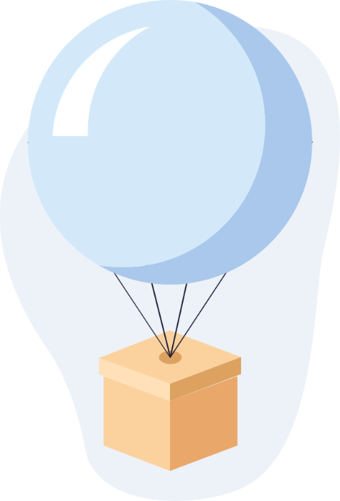 An illustration of a balloon holding a carton box, referring to the pro plan of the app