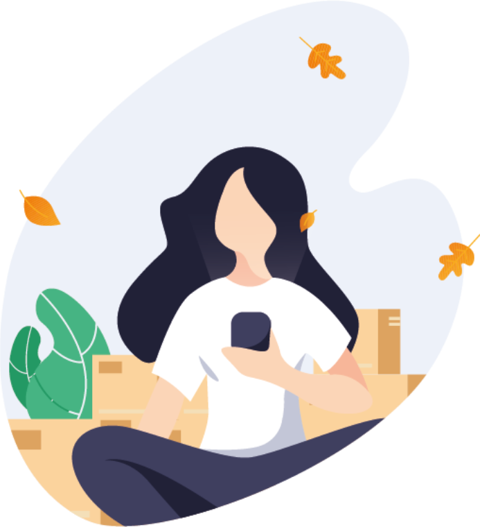 An illustration of a girl holding a phone with plants and carton boxes on the background.