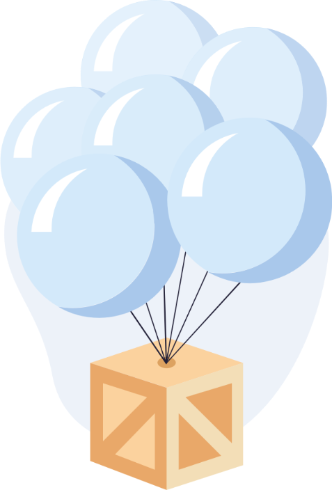 An illustration of many balloons holding a large carton box, referring to the growth plan of the app
