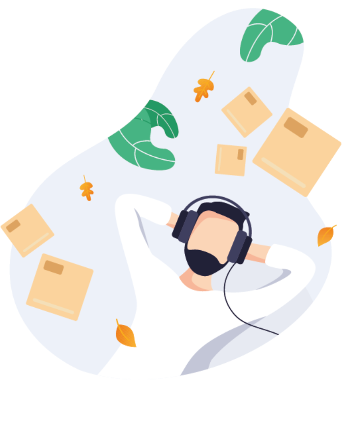 An illustration of a guy chilling with boxes by his side, relating to the easy onboarding to the Seller Metrix app
