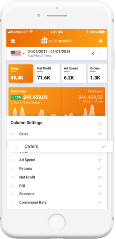 A phone mockup holding the main app screen while managing columns