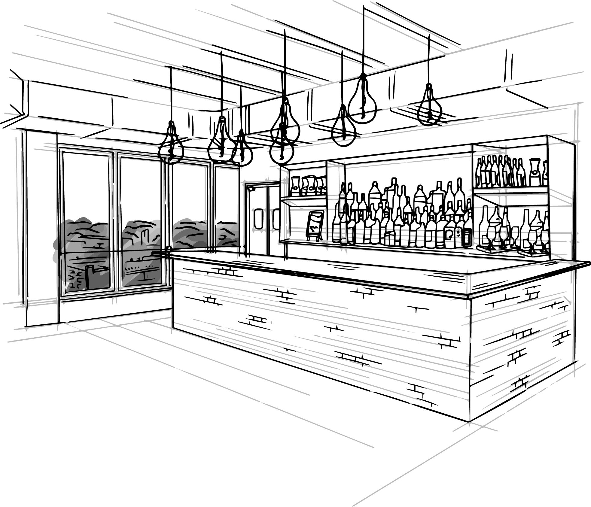 hand drawn illustration of the sleek, modern bar located inside of Sunago Bell's wedding and events space