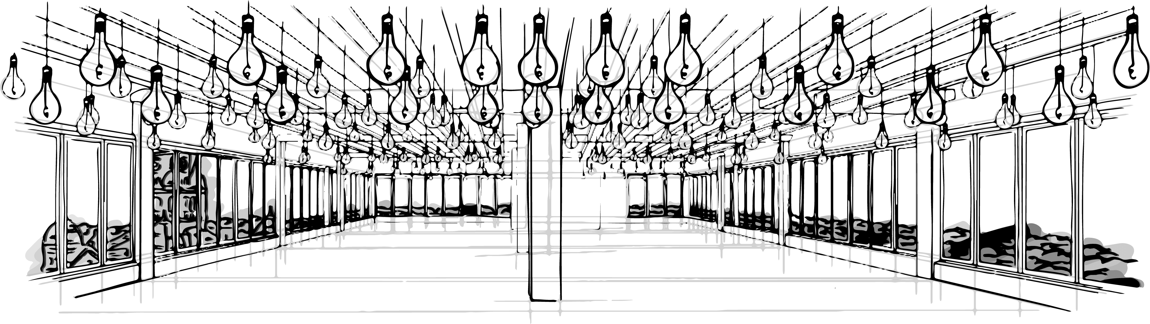 hand drawn illustration of the vast Sunago Bell wedding and events space